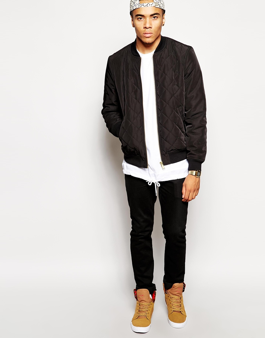 Asos Quilted Bomber Jacket in Black for Men | Lyst