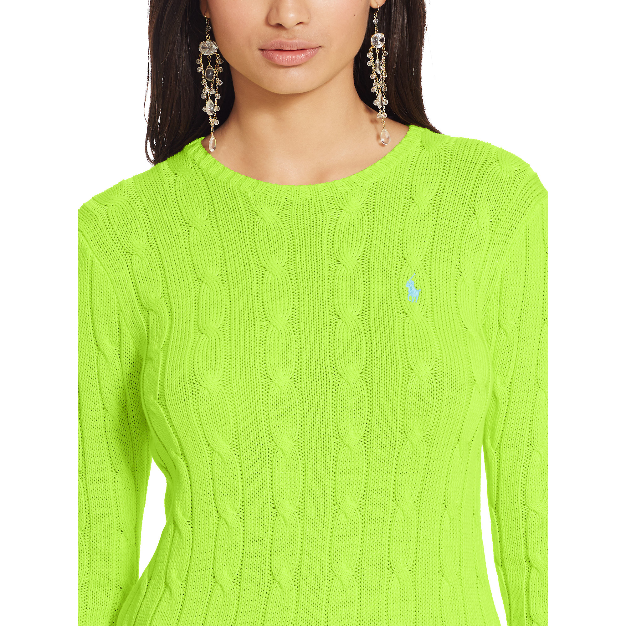 Polo Ralph Lauren Cable Knit Crewneck Sweater In Green Lyst