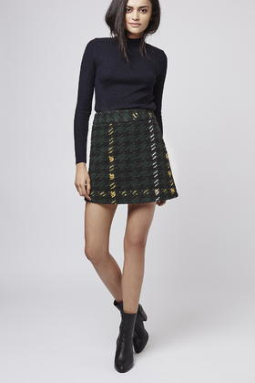 Topshop Petite High-waisted Check A-line Skirt in Black | Lyst