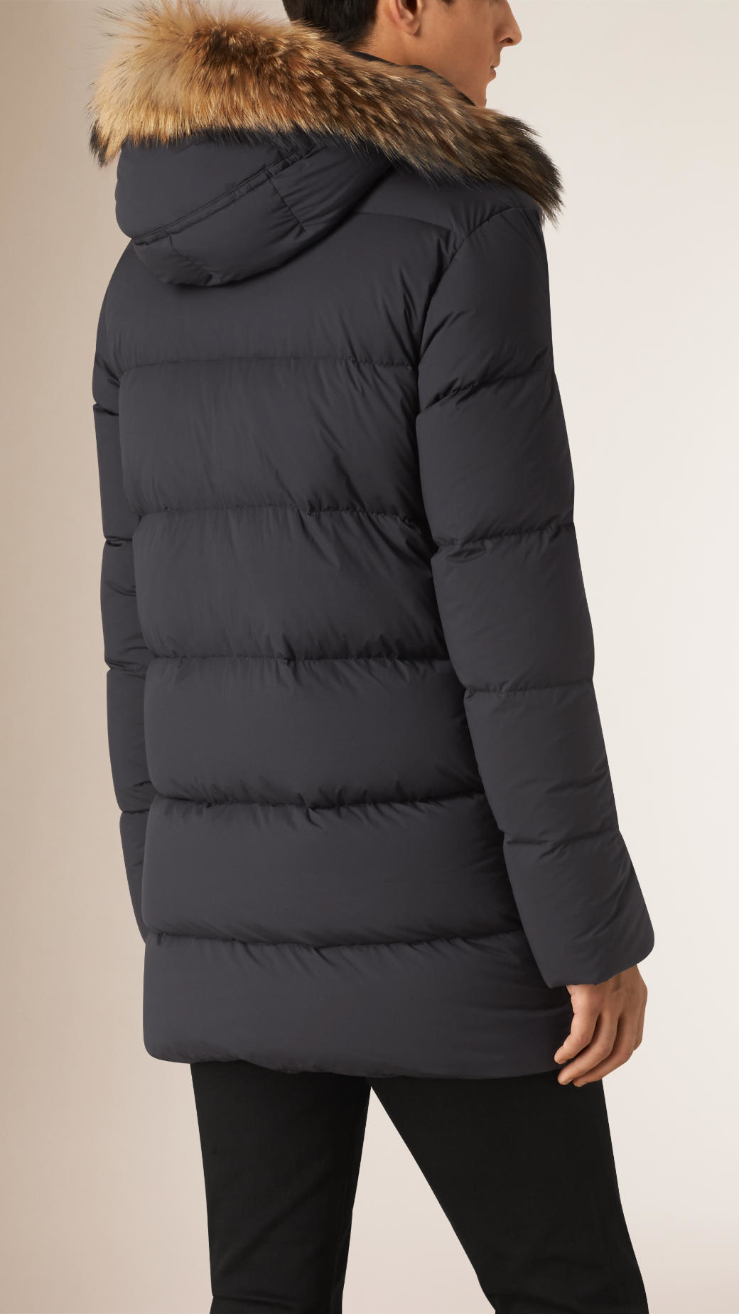 Burberry Down-filled Parka Coat With Fur Trimmed Hood in Black for ...