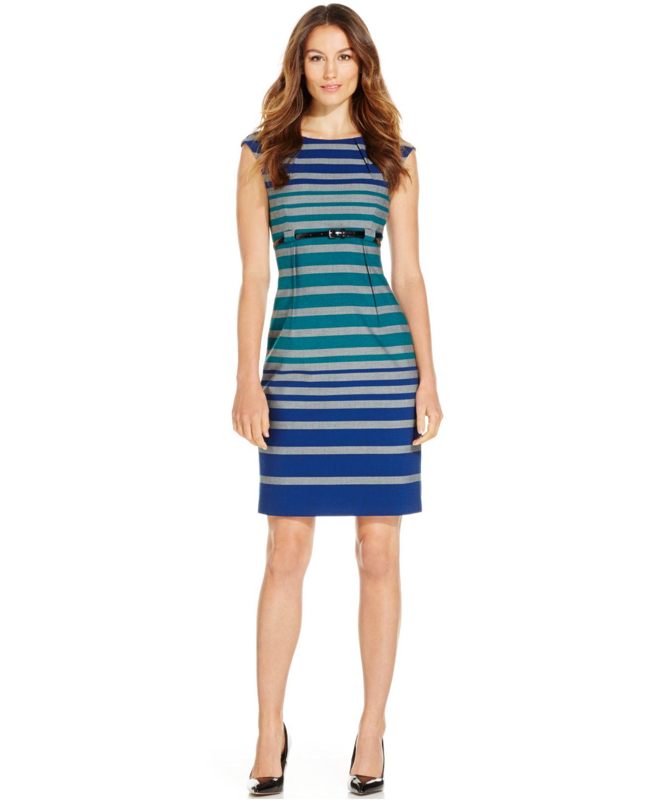 calvin klein belted stripe sheath dress lyst