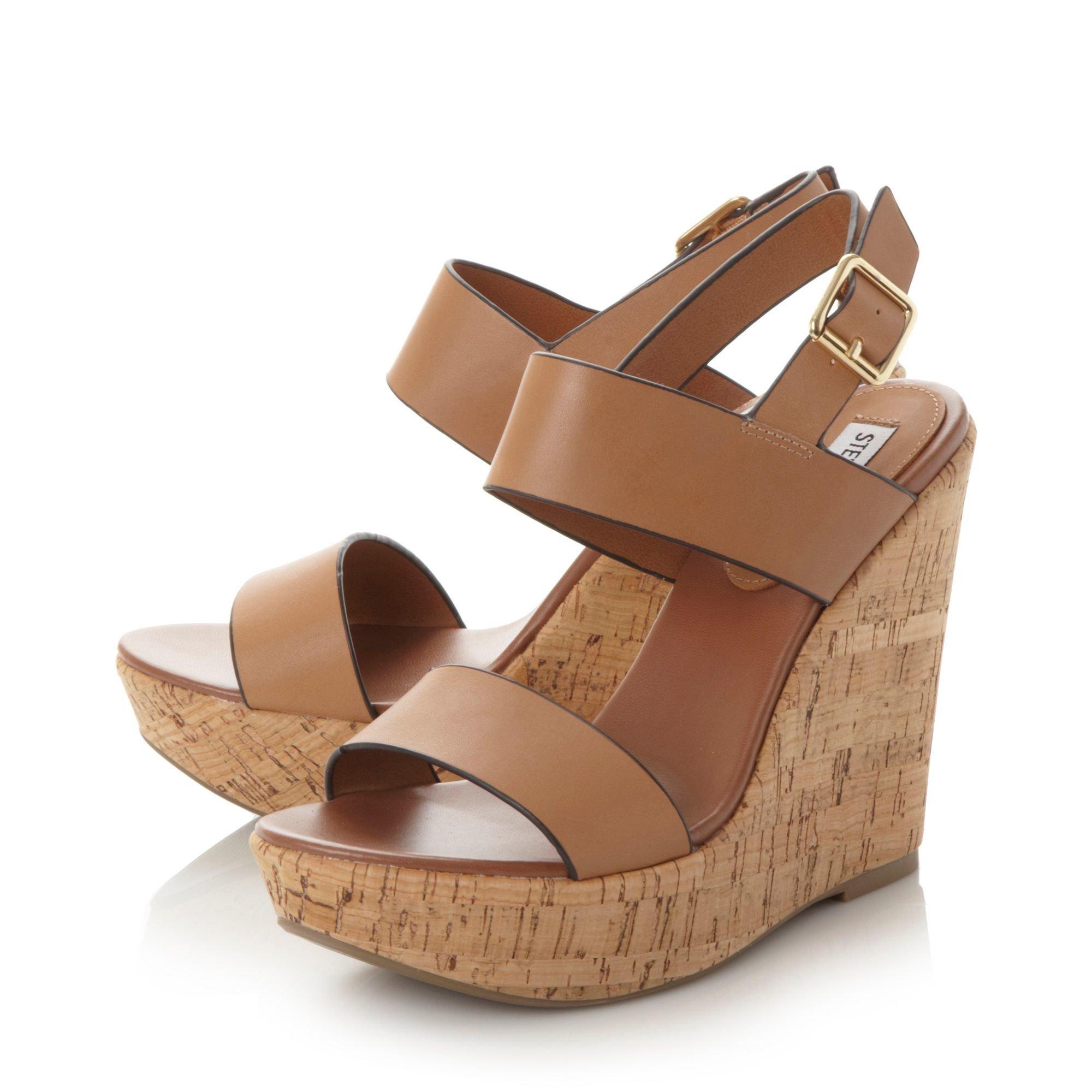 Steve madden Esme Cork Wedge Sandals in Brown | Lyst