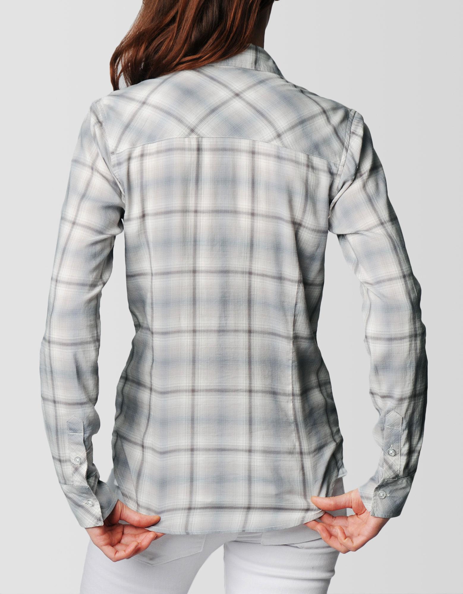 True religion plaid georgia womens shirt in gray lyst for Grey plaid shirt womens