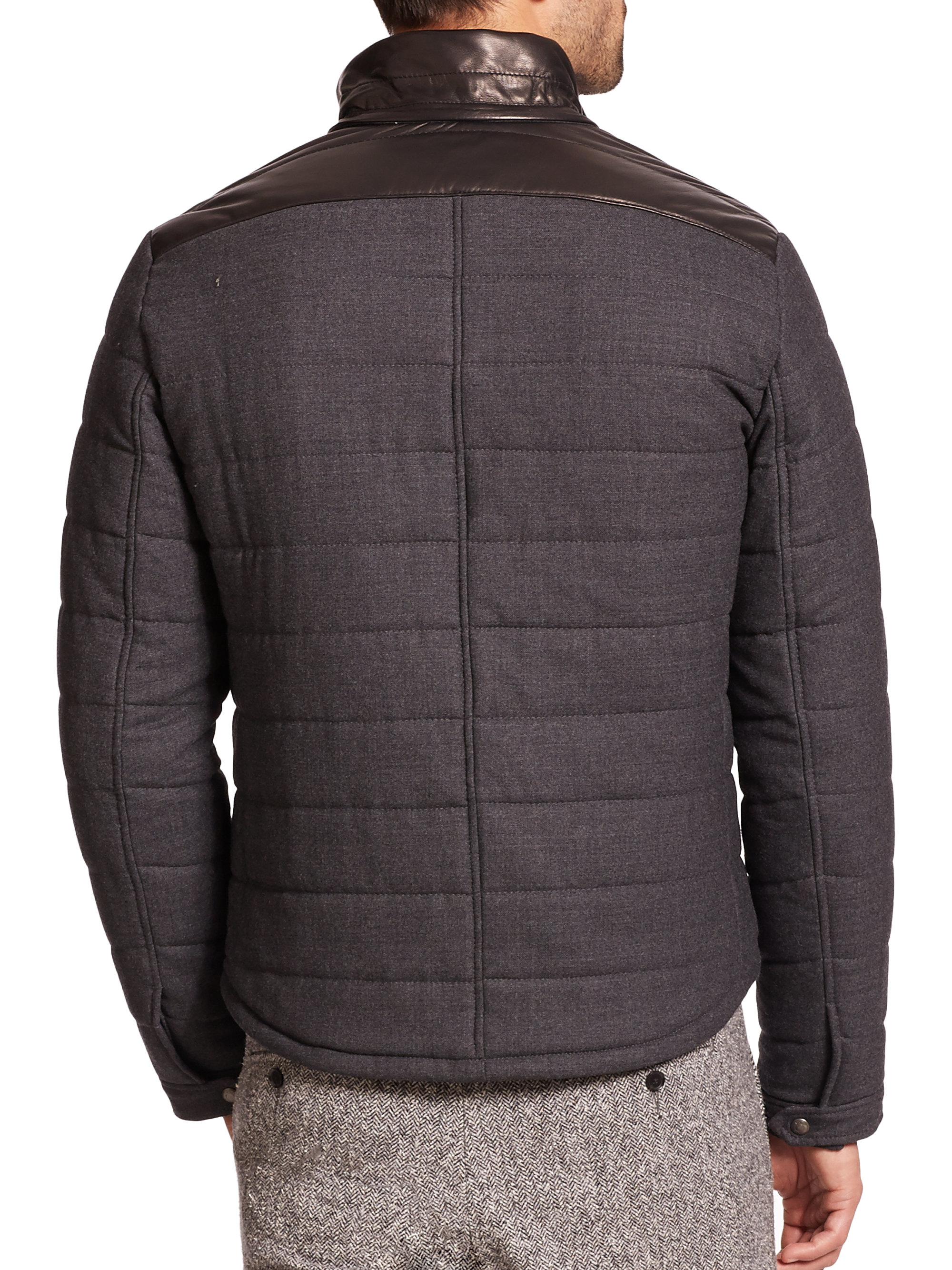 Vince Leather Hood Quilted Wool Jacket In Black For Men Lyst