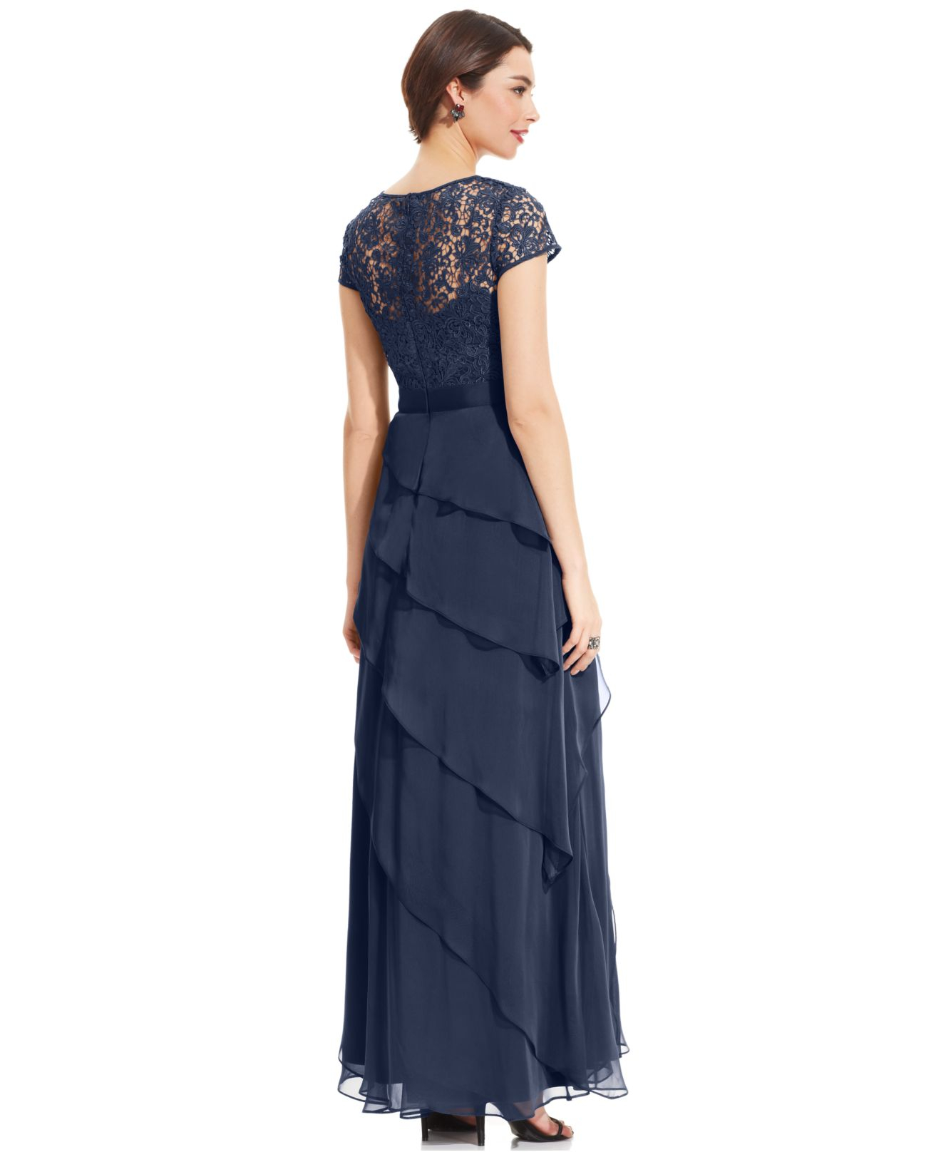 Lyst - Adrianna Papell Petite Cap-sleeve Lace Tiered Gown in Purple