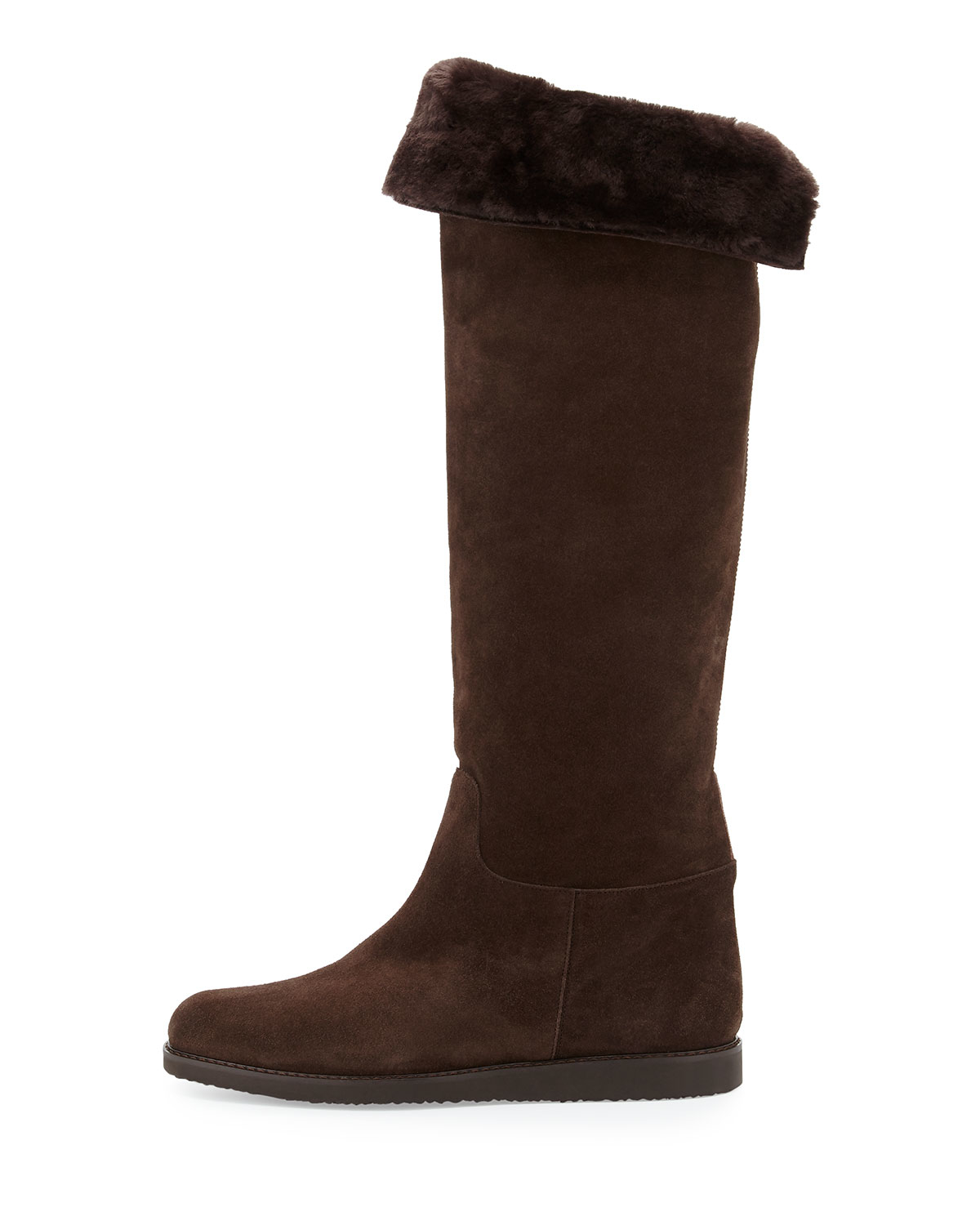 ferragamo my ease suede knee boot in brown lyst