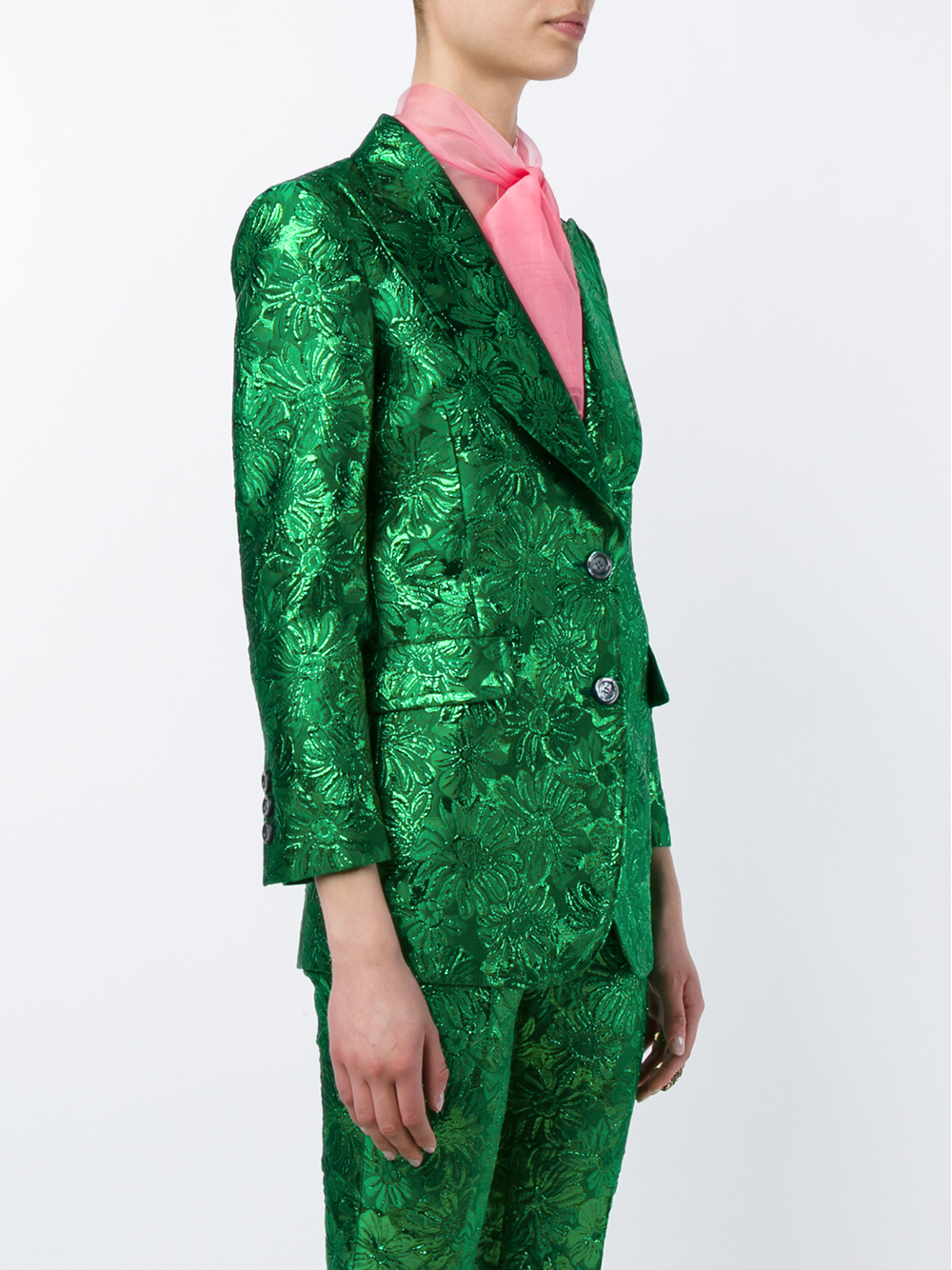 Gucci Iridescent Floral Brocade Jacket In Gray Lyst