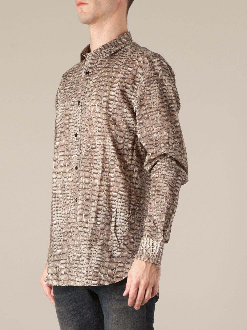 f14b77bd567 Saint Laurent Alligator Skin Print Shirt in Brown for Men - Lyst