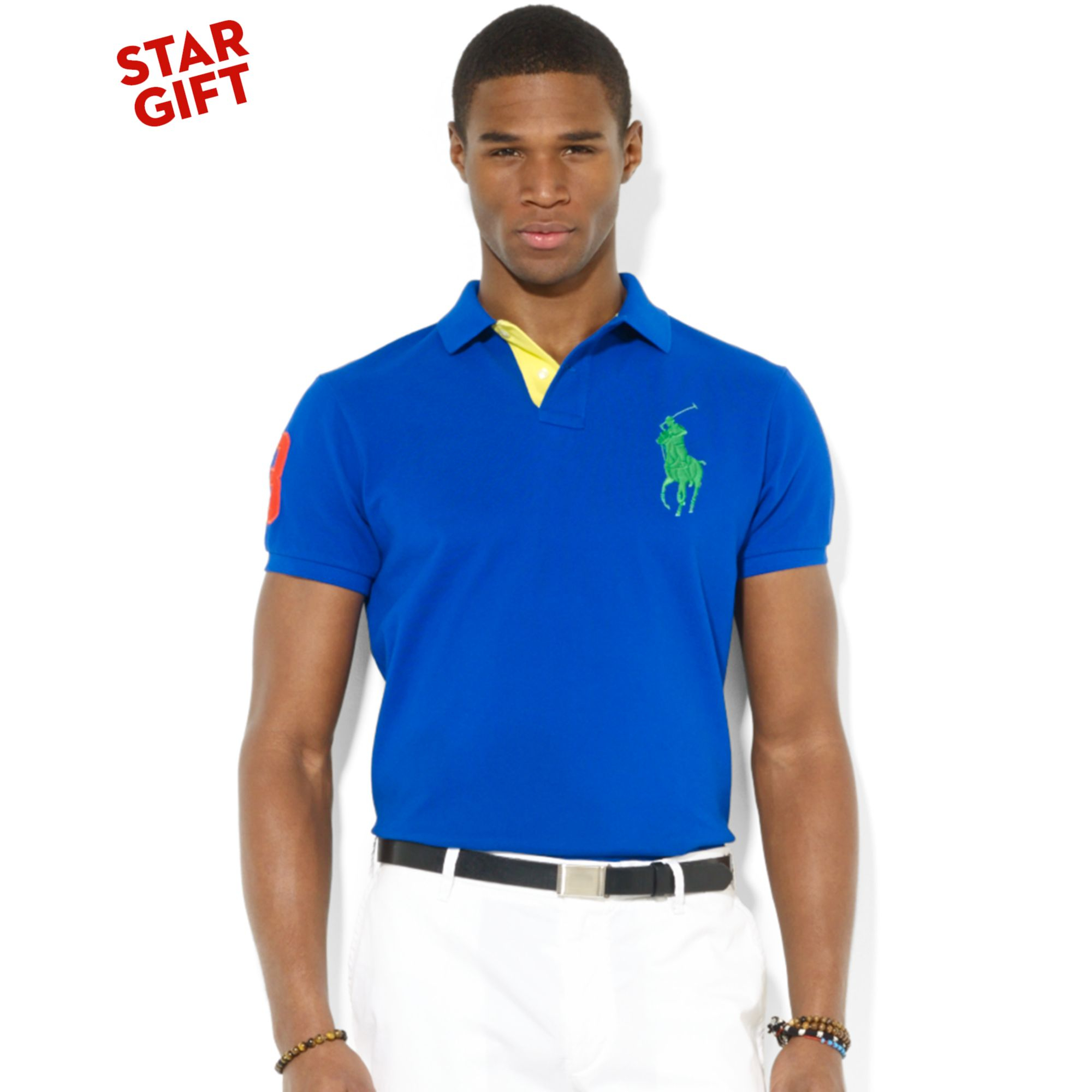 9c881634 Ralph Lauren Polo Custom Fit Big Pony Mesh Polo in Blue for Men - Lyst