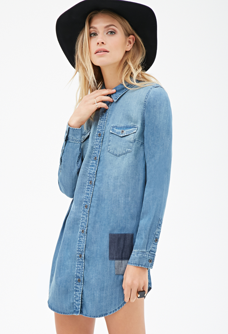0d4db4d4f888 Forever 21 Contemporary Denim Shirt Dress in Blue - Lyst