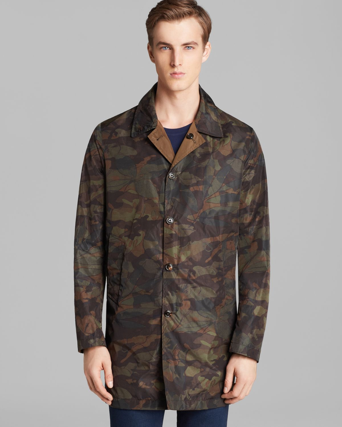 Mens camo long coat