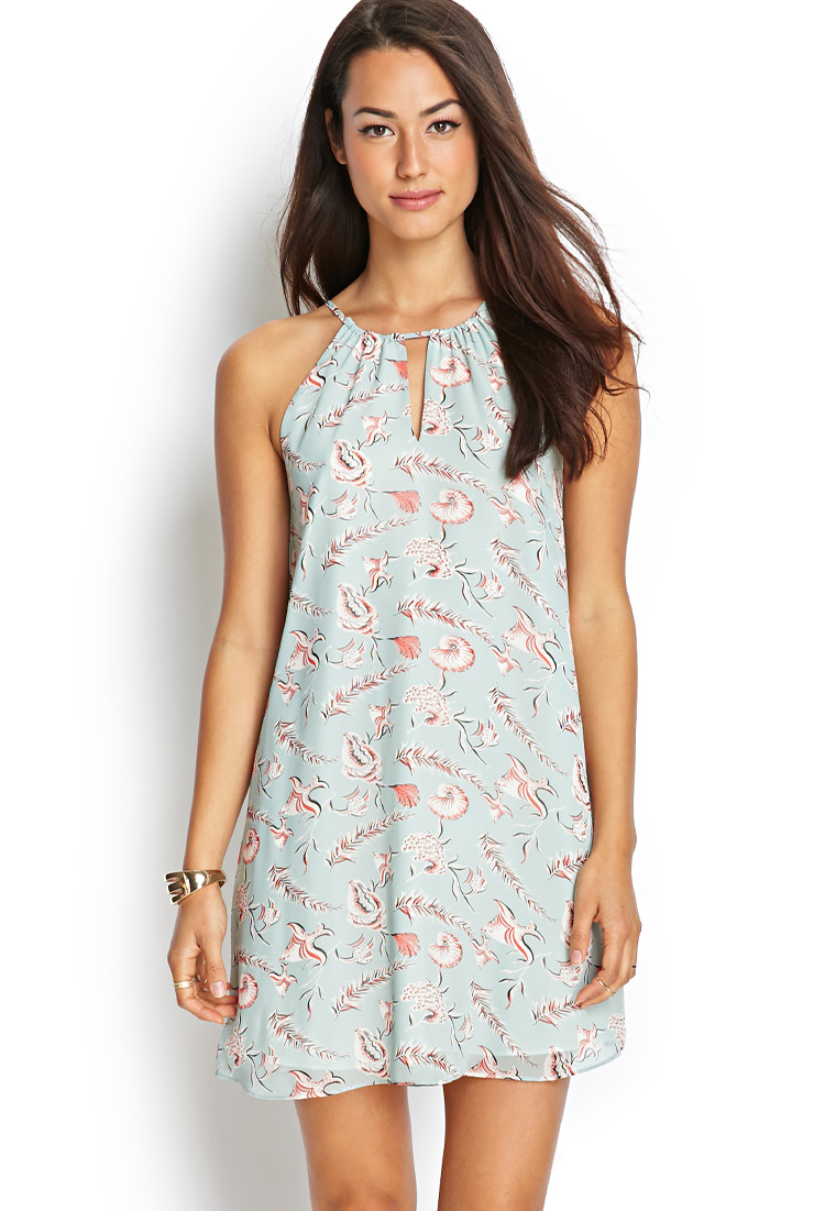 Lyst - Forever 21 Contemporary Marine Life Halter Dress in Blue