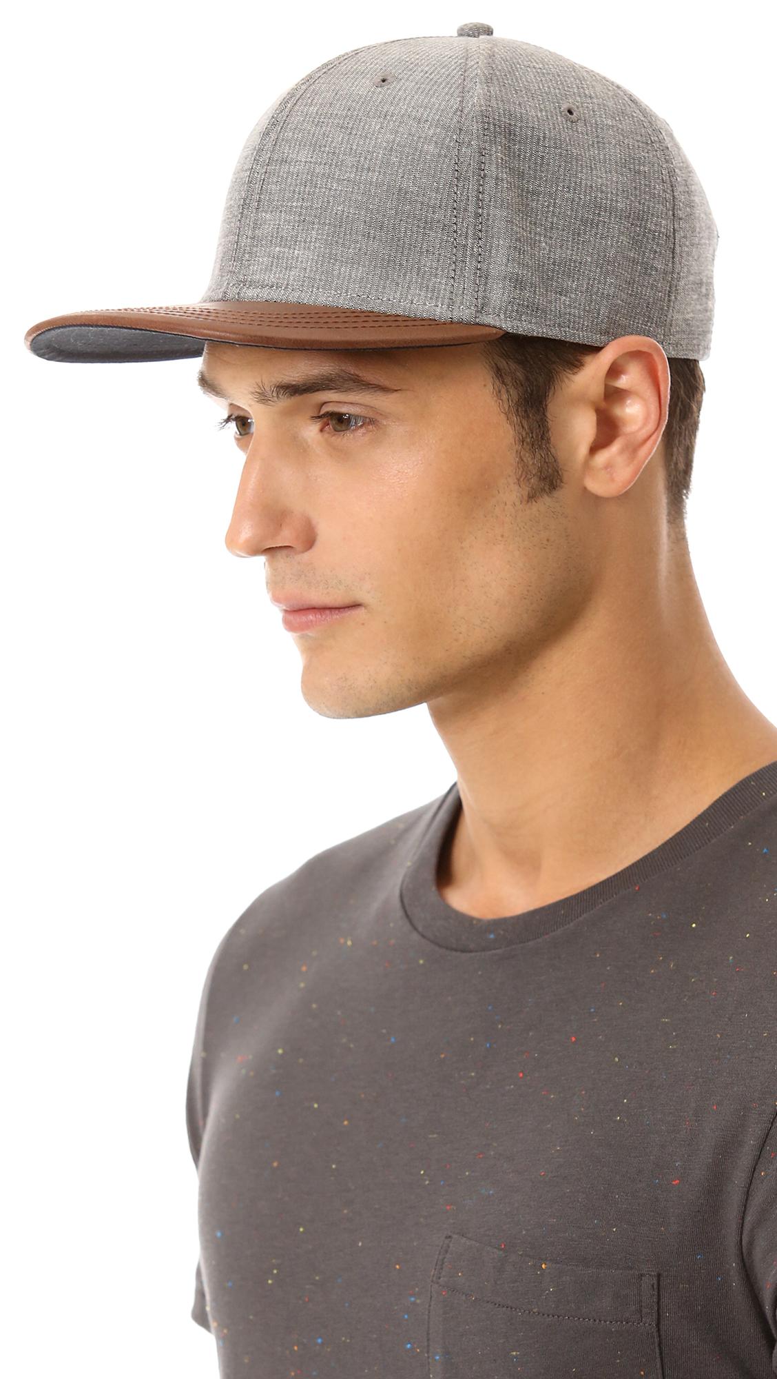 b6ec01aaf2652 Lyst - Rag   Bone Baseball Cap with Leather Brim in Gray for Men