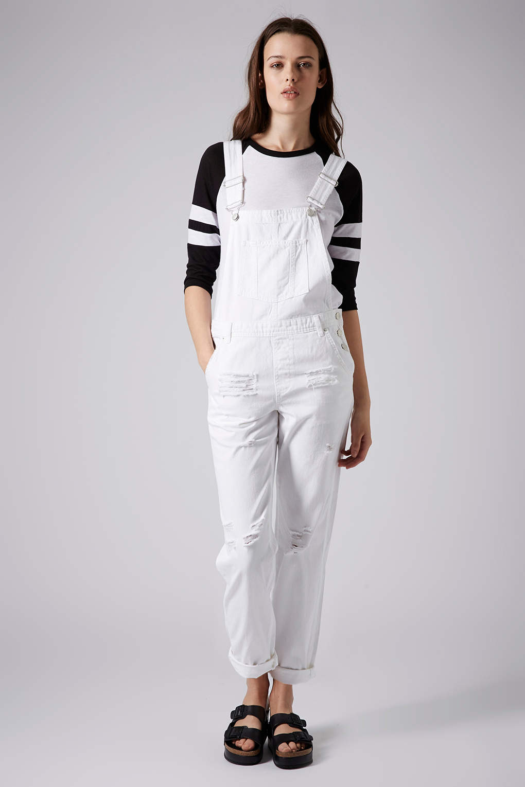 Topshop womens moto white long leg dungarees white in for Womens denim shirts topshop