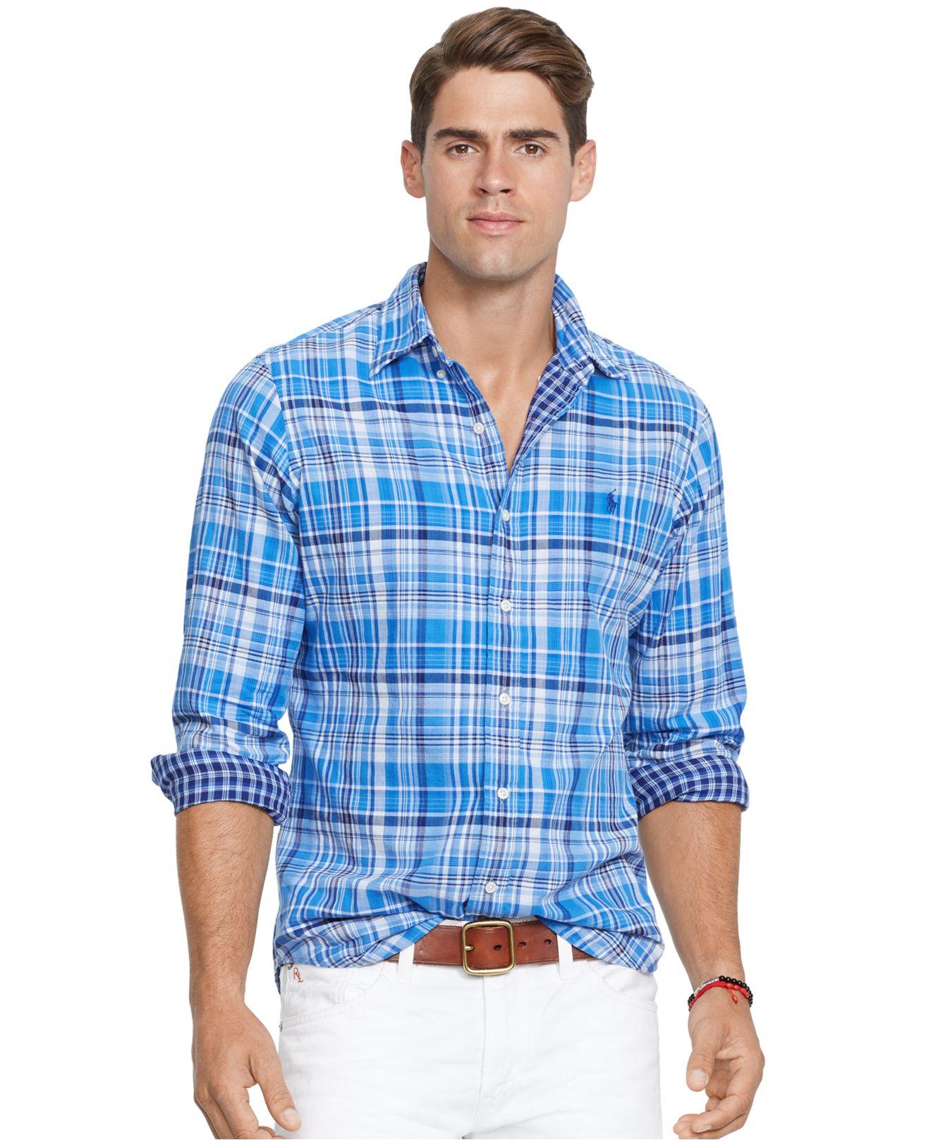 fc1b0200 ... denmark lyst polo ralph lauren double faced plaid oxford shirt in blue  for men f15db e8439