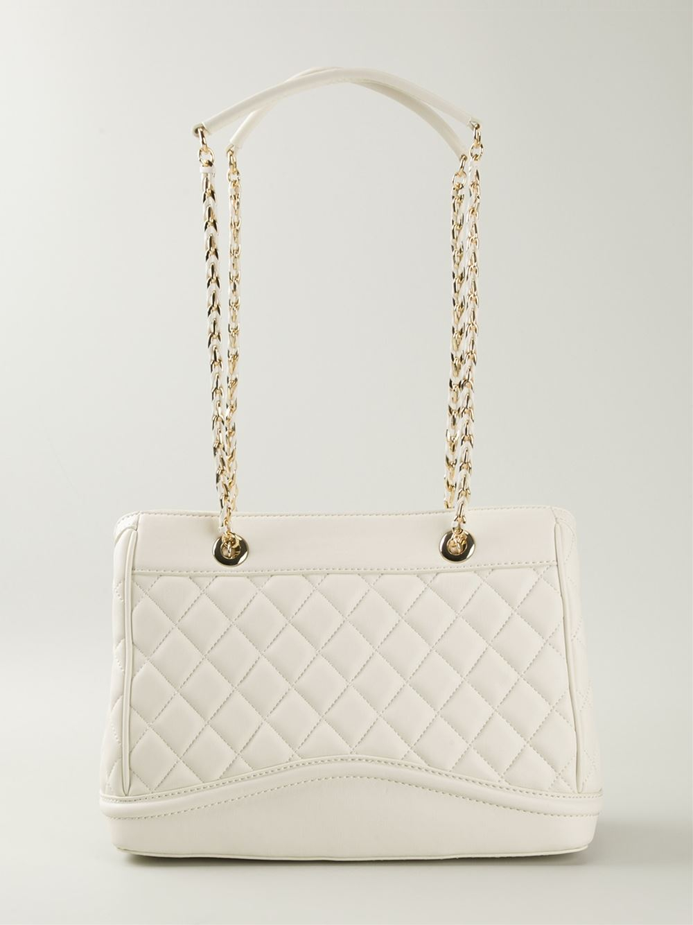 Love moschino Quilted-Leather Shoulder Bag in White | Lyst