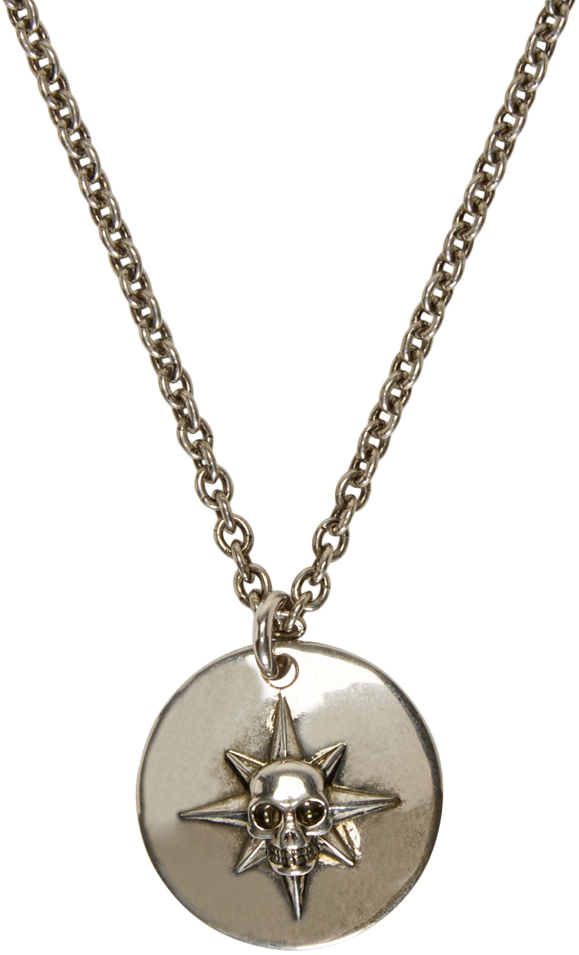 Lyst alexander mcqueen silver compass rose skull necklace in gallery aloadofball Choice Image