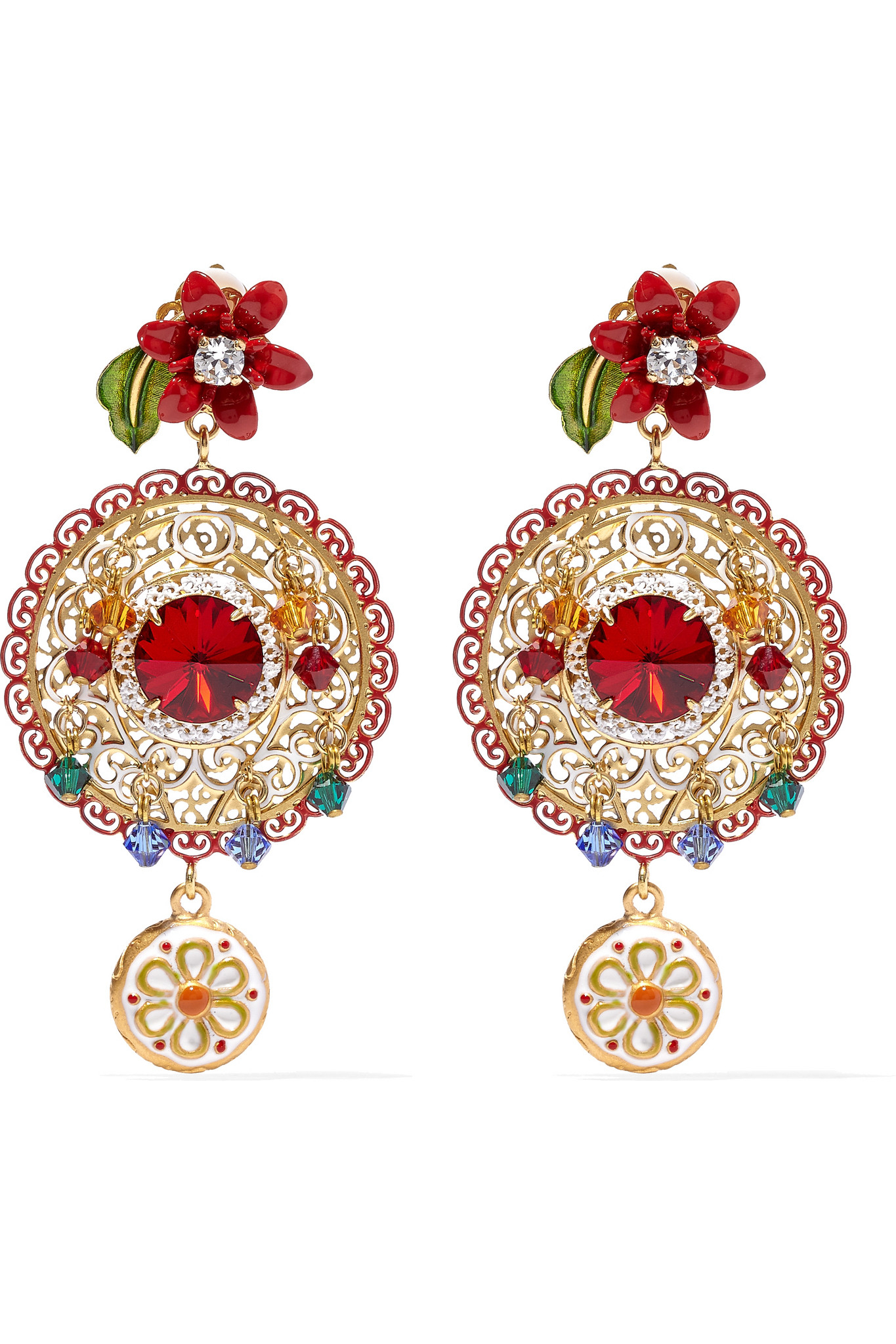 5b0141c16 Dolce & Gabbana Gold-plated Swarovski Crystal Clip Earrings in ...