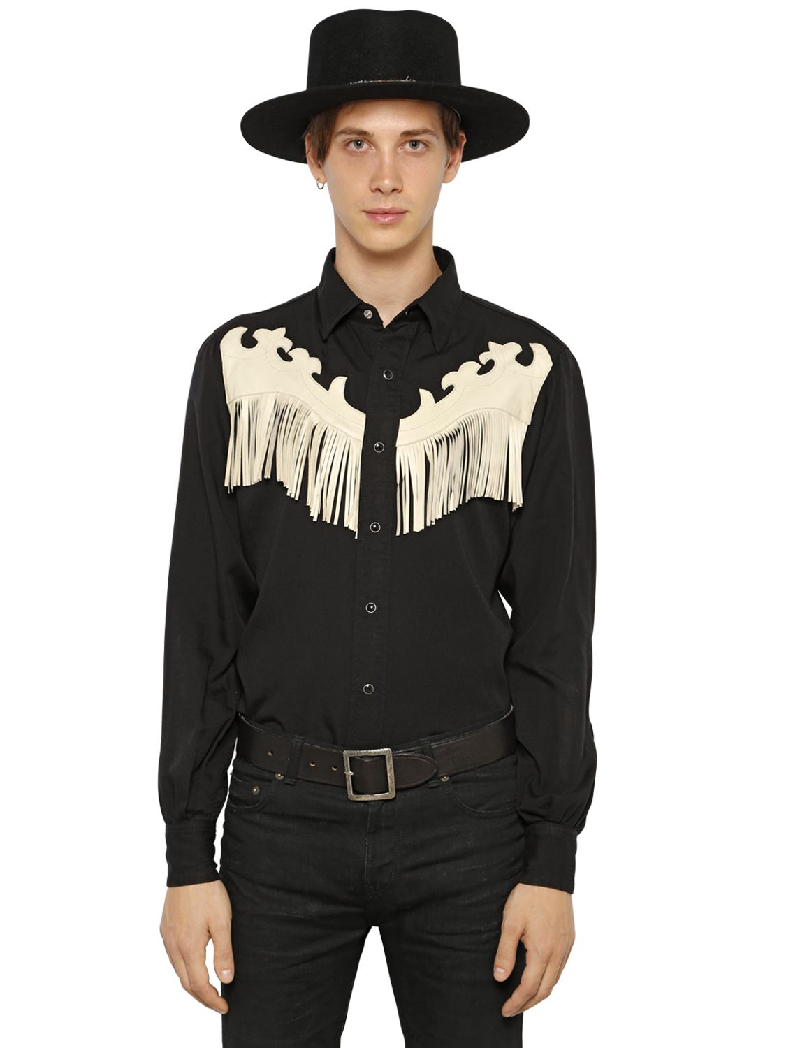 Saint laurent leather fringe on flannel western shirt in for Mens shirt with tassels
