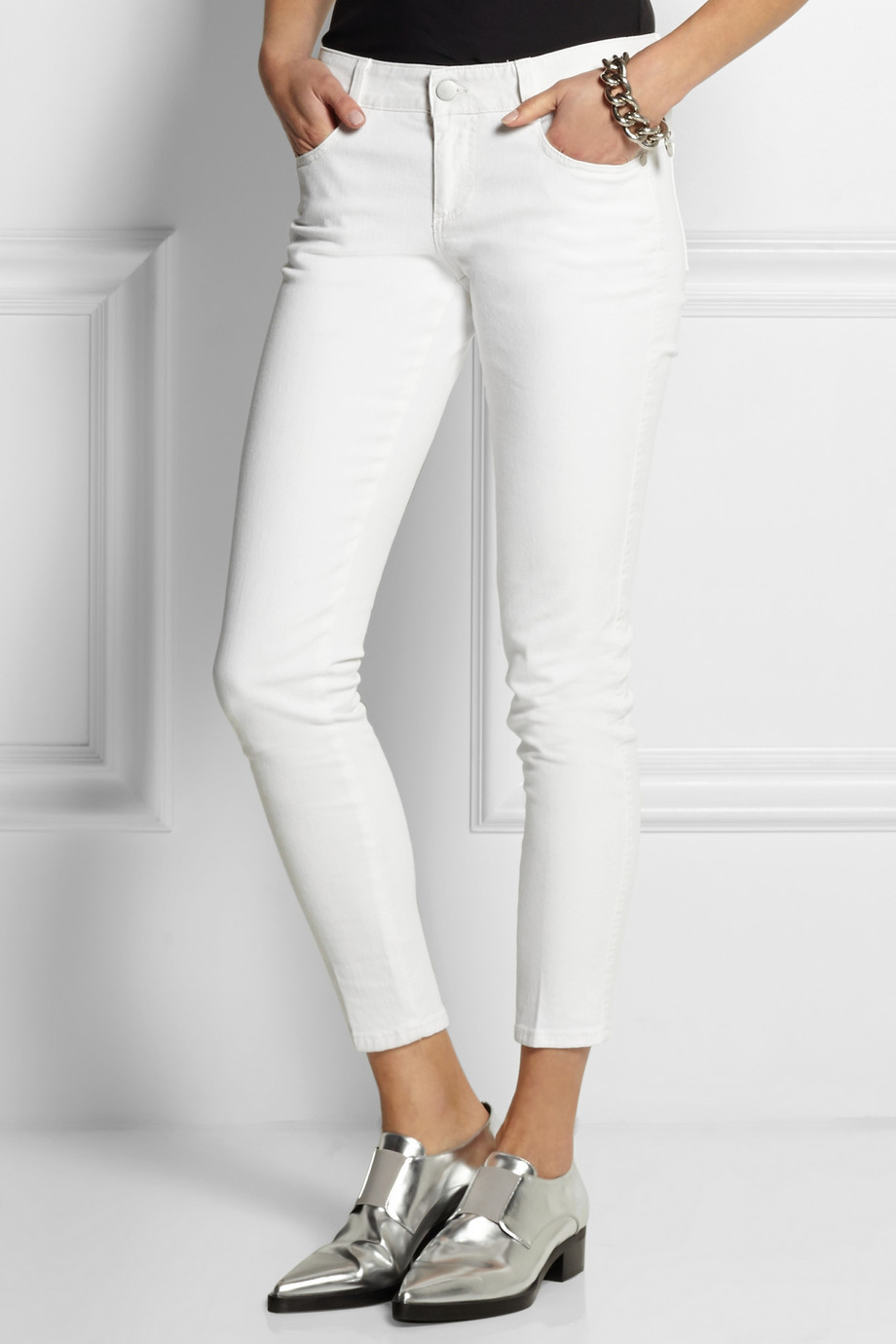 stella mccartney low rise skinny jeans in white lyst. Black Bedroom Furniture Sets. Home Design Ideas