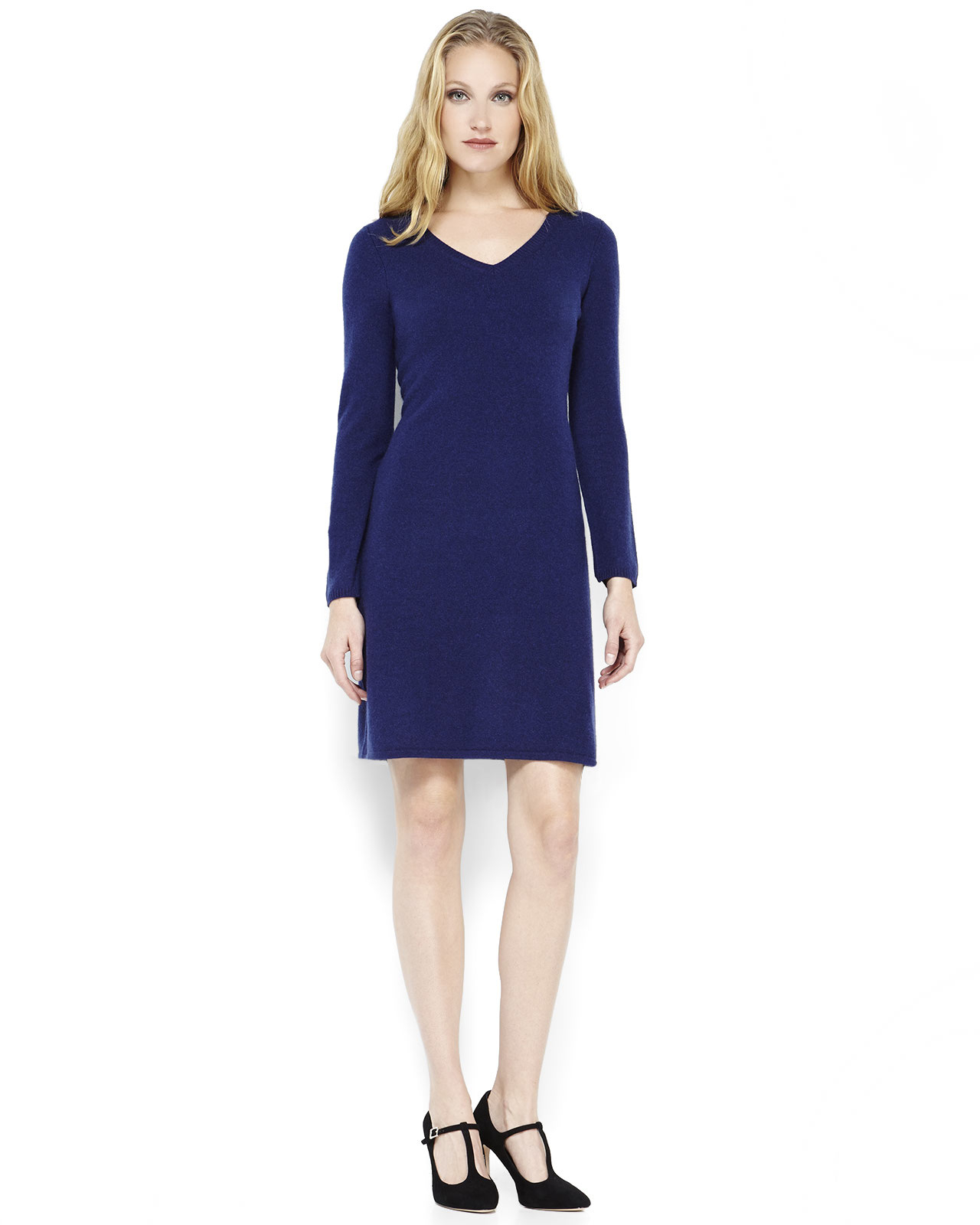 Sofia cashmere Navy Cashmere Sweater Dress in Blue (Navy) | Lyst