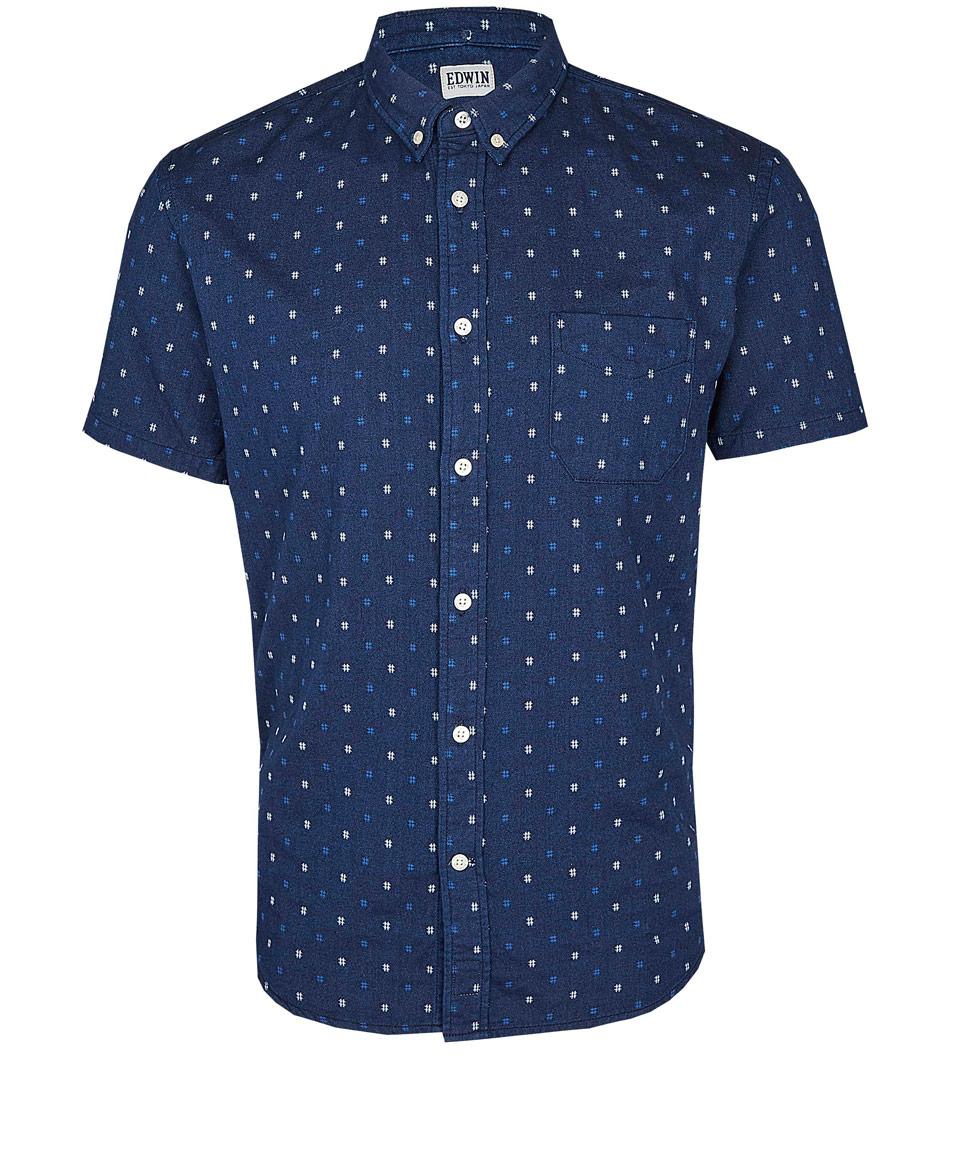 edwin navy print short sleeve shirt in blue for men navy