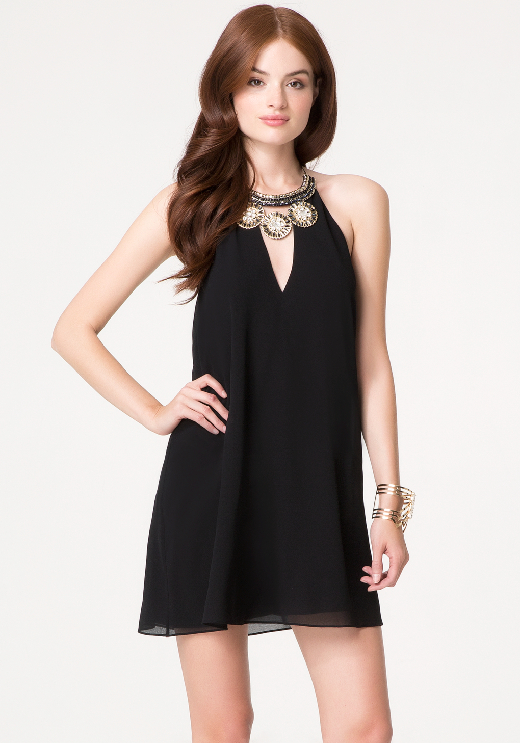 Black dress necklace halter