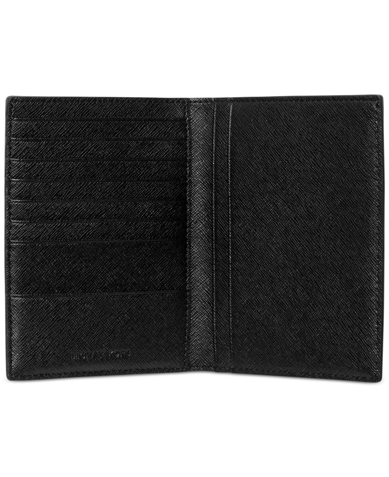 b4ee7c0d44fd Michael Kors Jet Set Saffiano Leather Passport Card Holder in Black ...