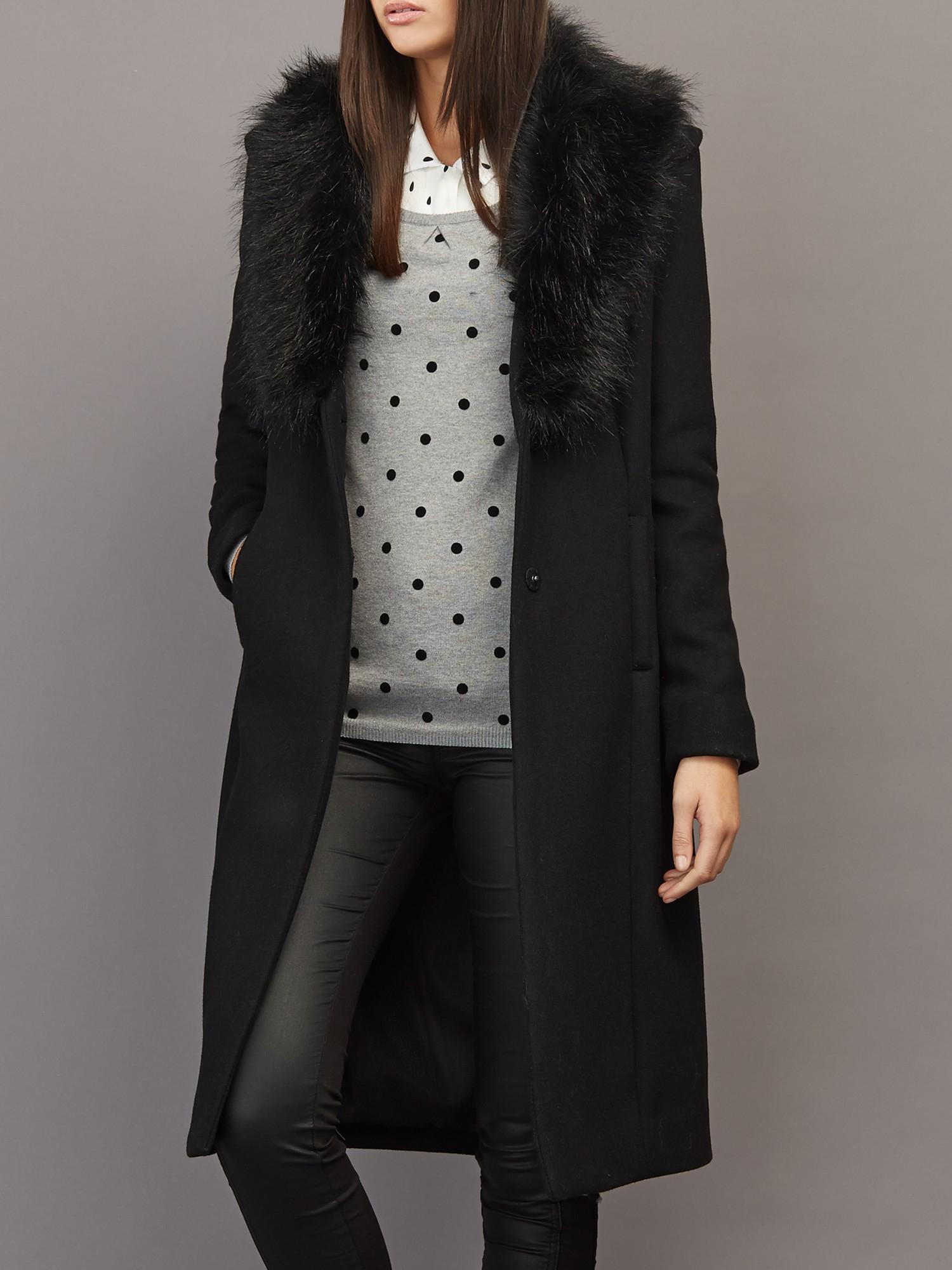 Supertrash Orora Faux Fur Collar Coat in Black | Lyst