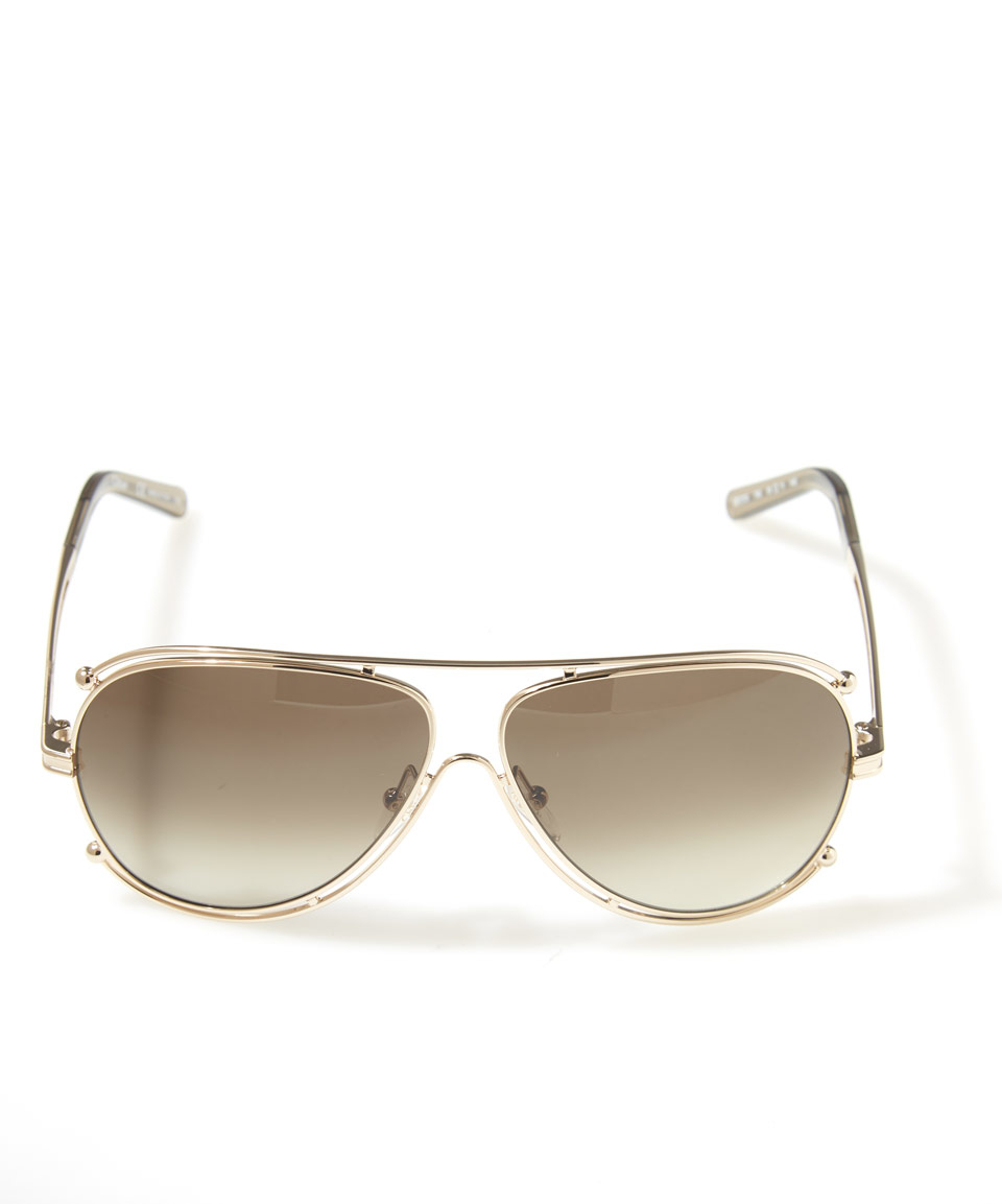 729c338668a Lyst - Chloé Gold Isadora Aviator Sunglasses in Metallic