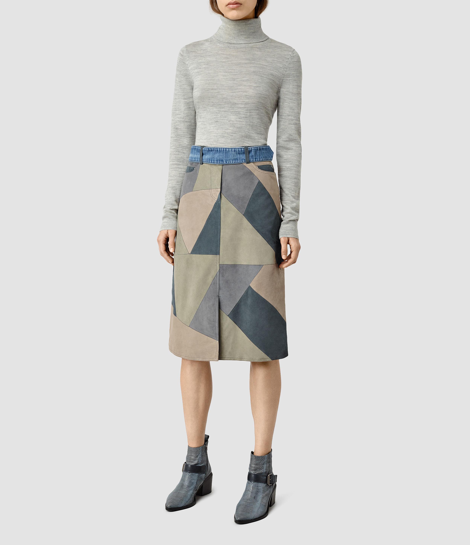 allsaints turner leather skirt usa usa lyst