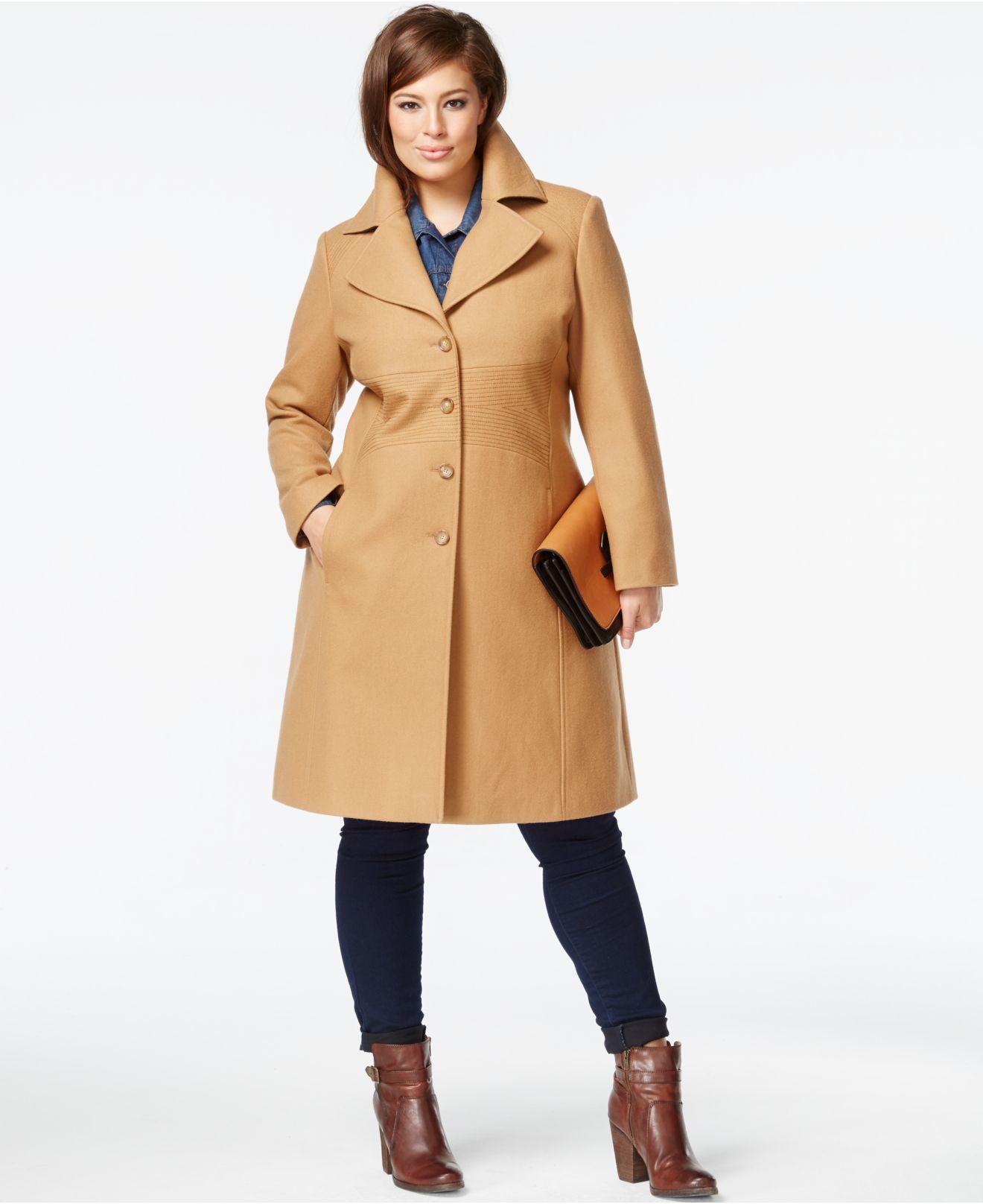 874448af3 Tommy Hilfiger Plus Size Wool-blend Walker Coat in Natural - Lyst