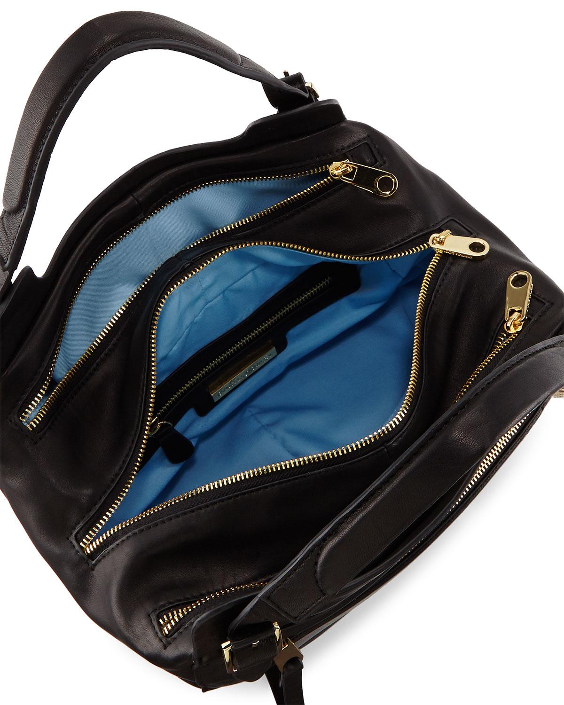 Lyst Cynthia Rowley Juno Large Leather Satchel Bag In Black 435f8f410cc57