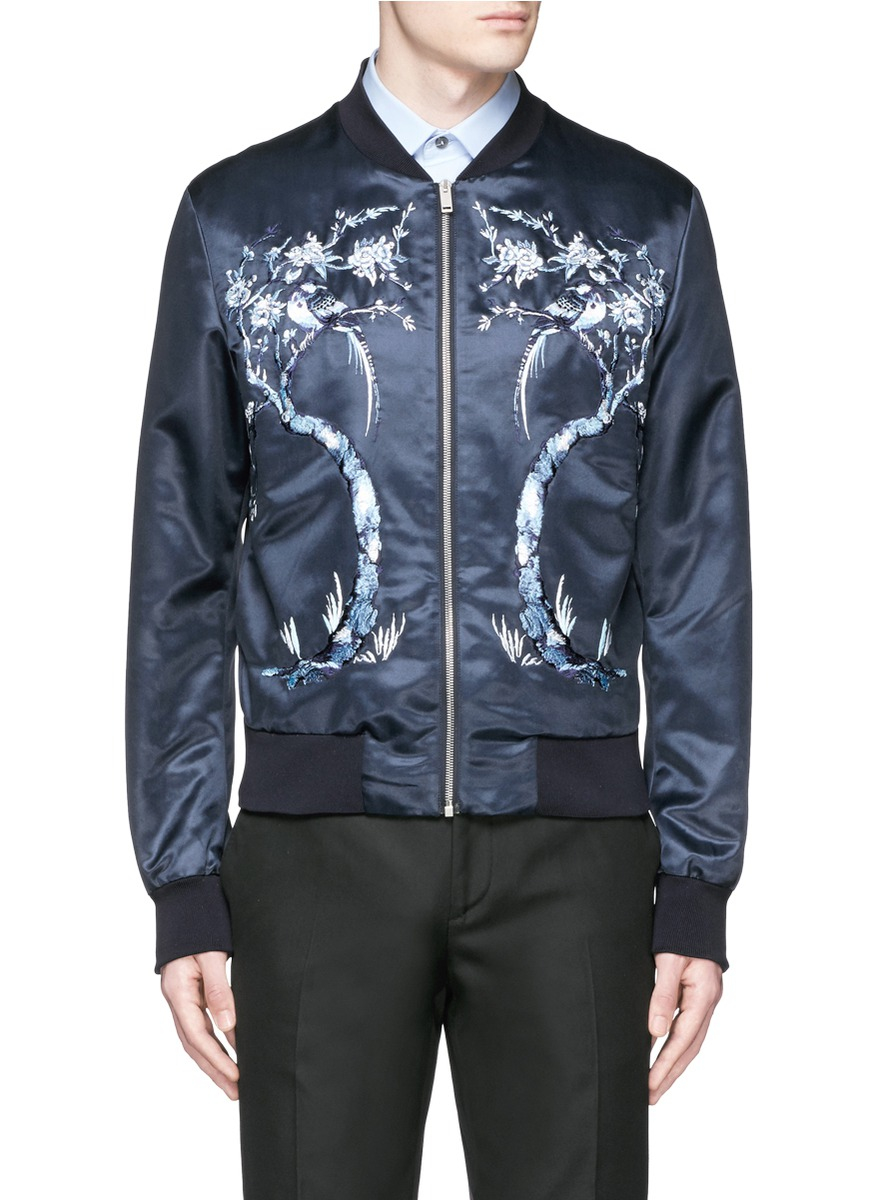 Cheap New Arrival Latest Cheap Price Palm Tree Embroidery Satin Bomber Jacket Clearance View Sale 2018 ESnaPy