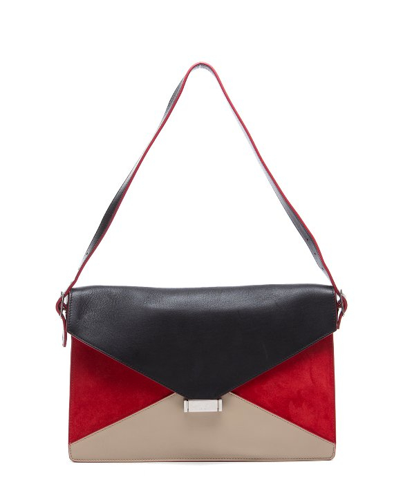 C¨¦line Preowned Red Colorblock Suede Diamond Convertible Clutch in ...