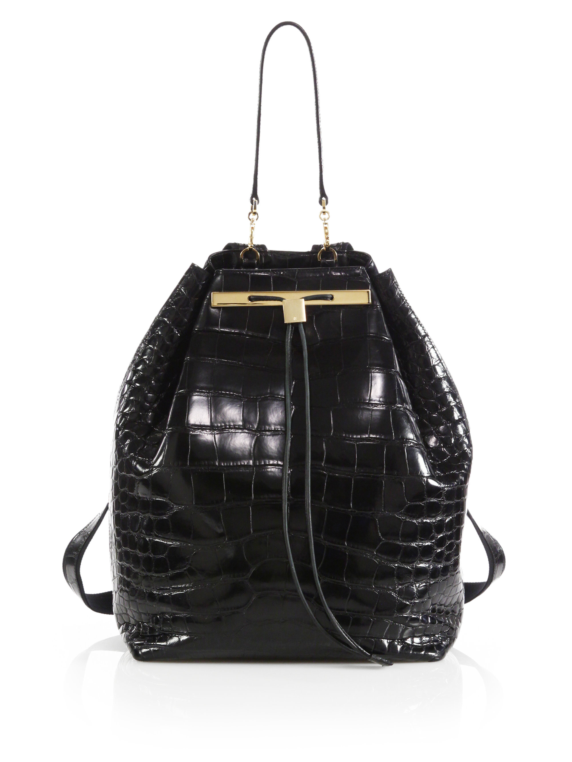 Lyst The Row Crocodile Drawstring Backpack In Black