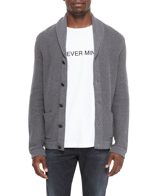 Rag & bone Avery Shawl-collar Knit Cardigan in Gray for Men | Lyst