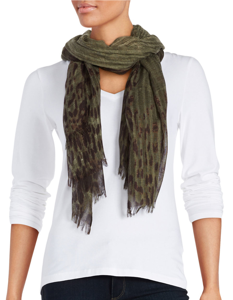 lord printed fringe scarf in green lyst
