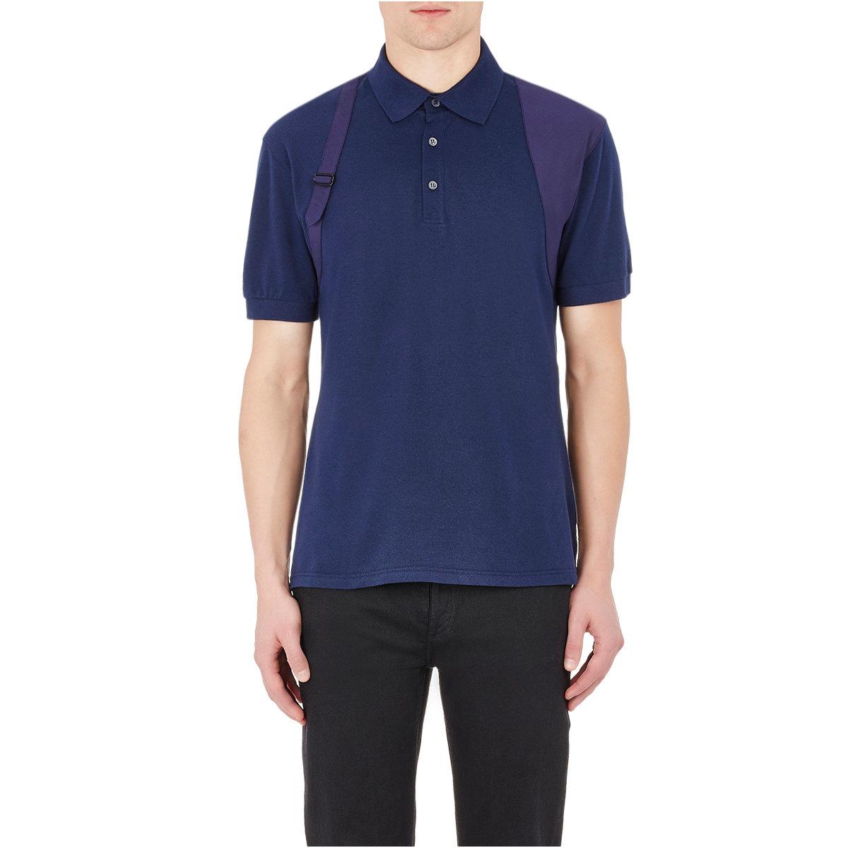 Lyst alexander mcqueen harness polo shirt in blue for men for Alexander mcqueen shirt men