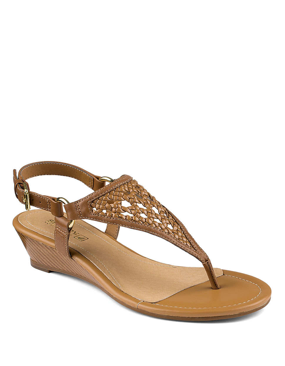 sperry top sider laina leather wedge sandals in brown lyst