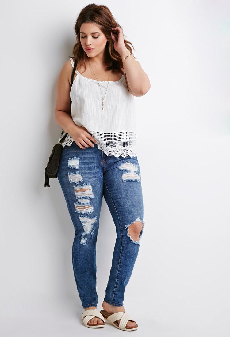 Plus size fashion skinny jeans 82