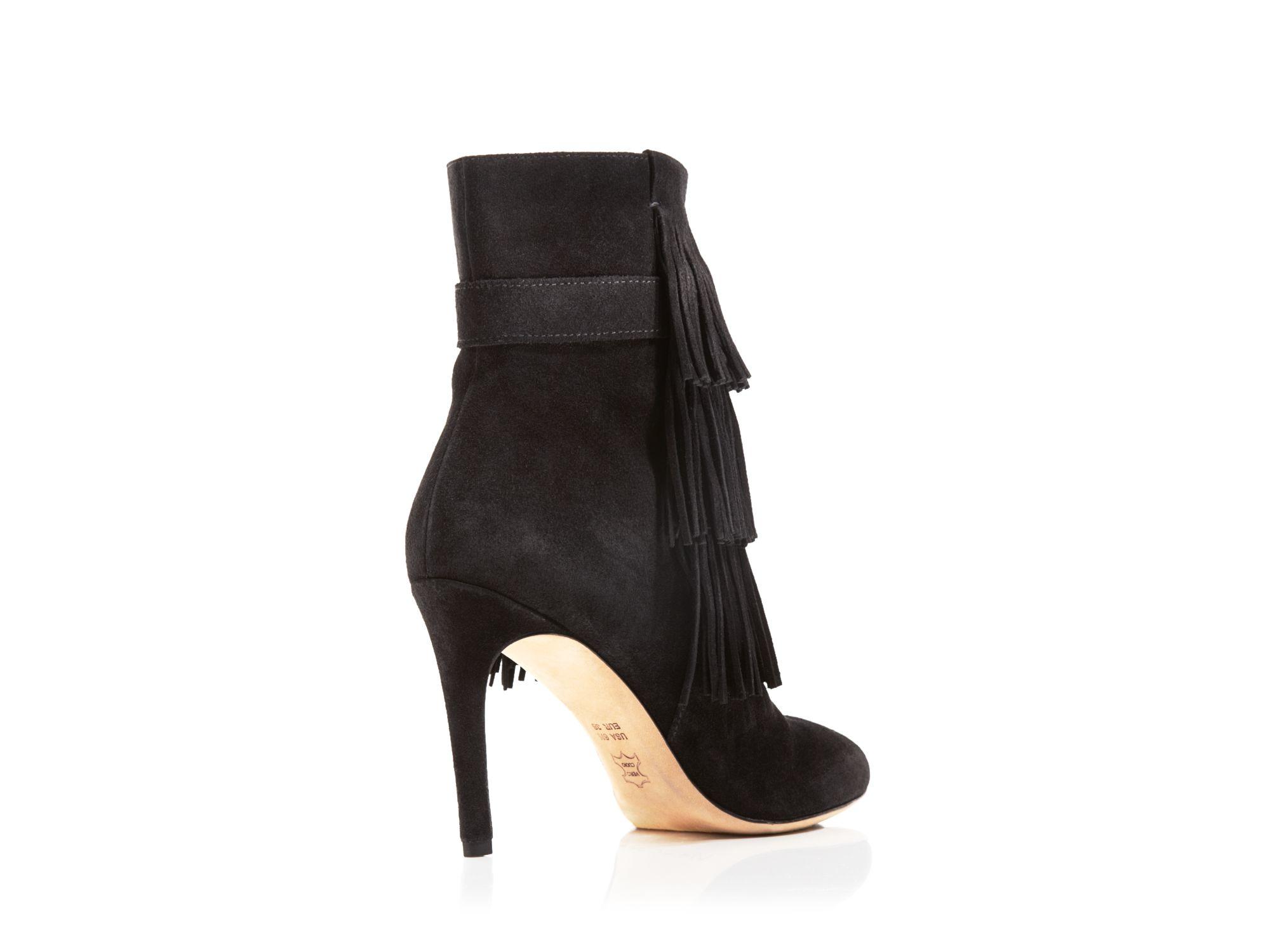 Via spiga vesta fringed suede boots in black save 60 lyst