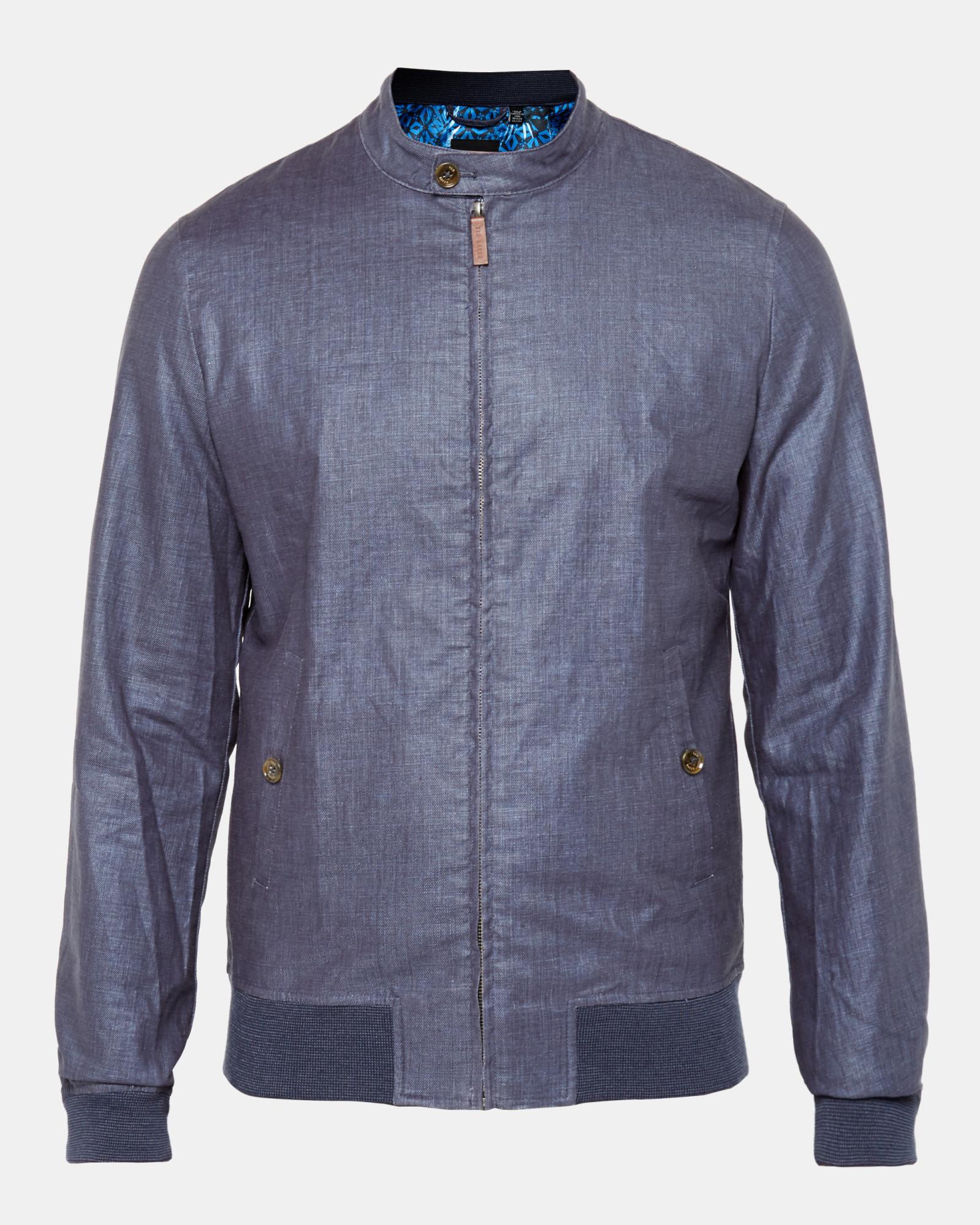 8f5834b04f3170 Lyst - Ted Baker Coated Linen Bomber Jacket in Blue for Men