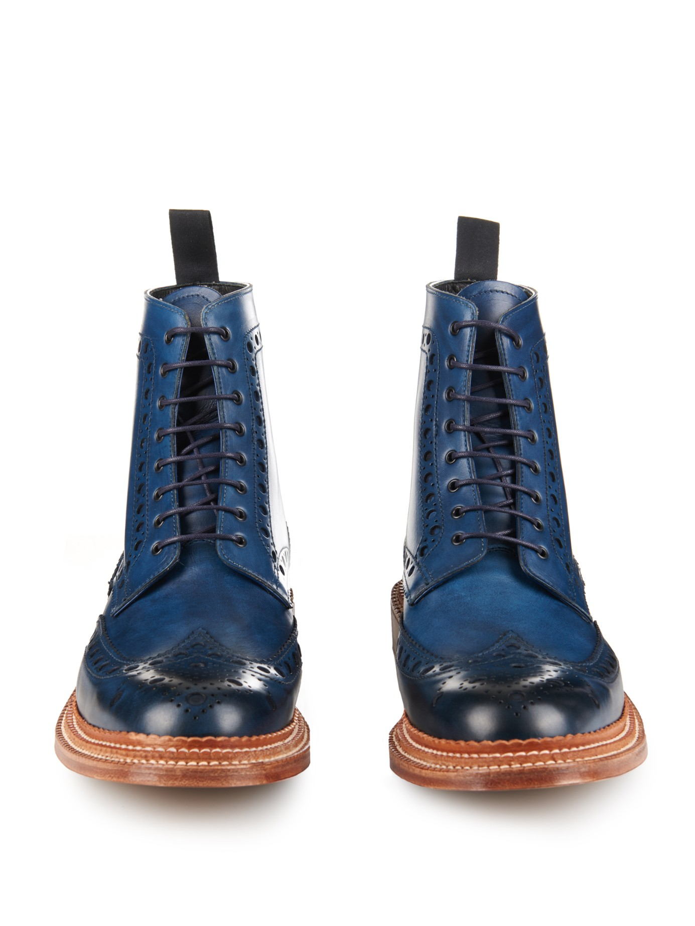 foot the coacher fred leather brogue boots in blue for