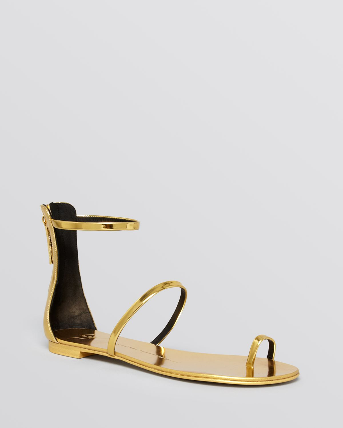 fd5776440 ... where can i buy giuseppe zanotti flat ankle strap sandals nuvorock in metallic  lyst 91727 7b177