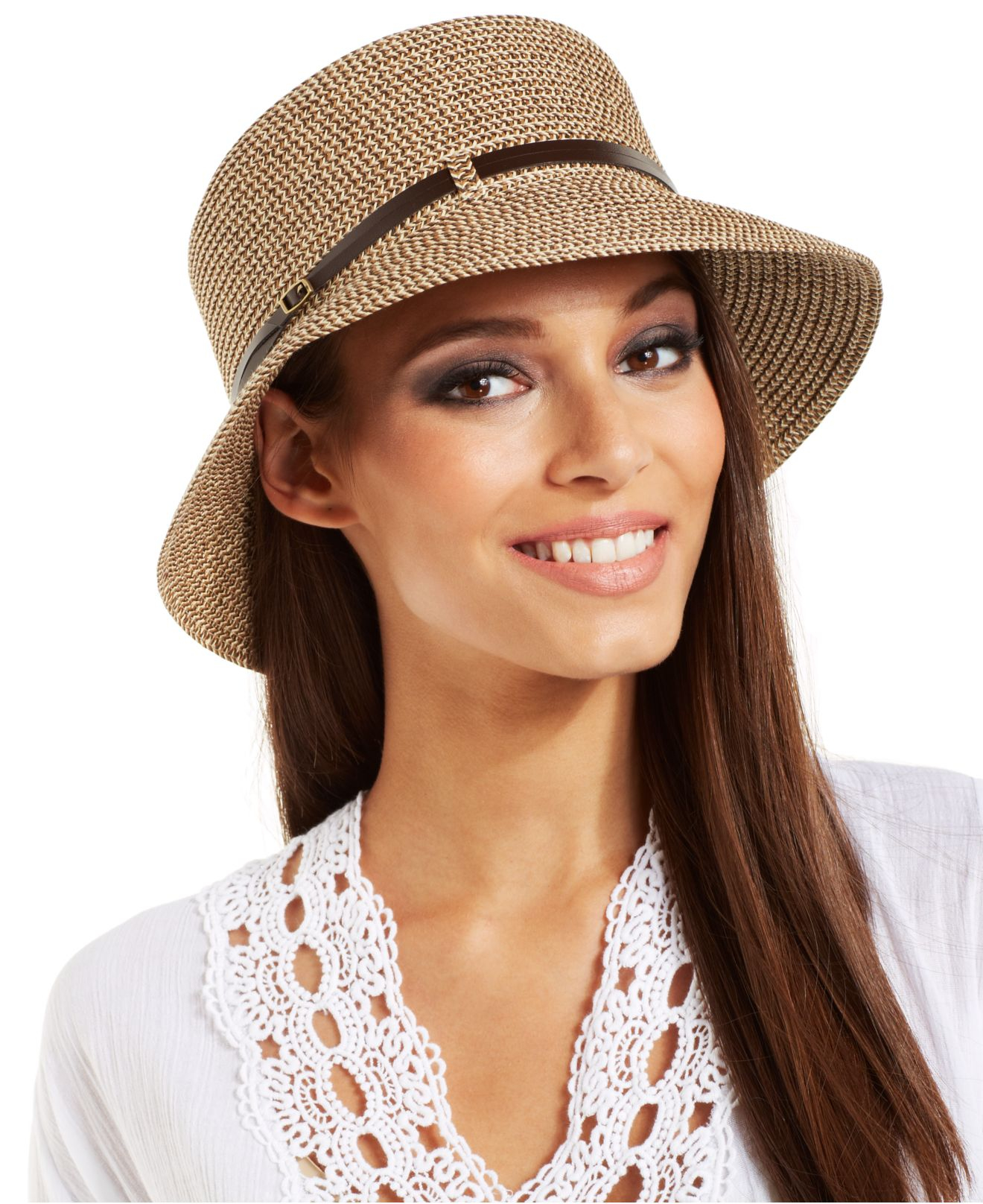 eb59fc60c8a Lyst - Nine West Packable Microbrim Hat in Natural