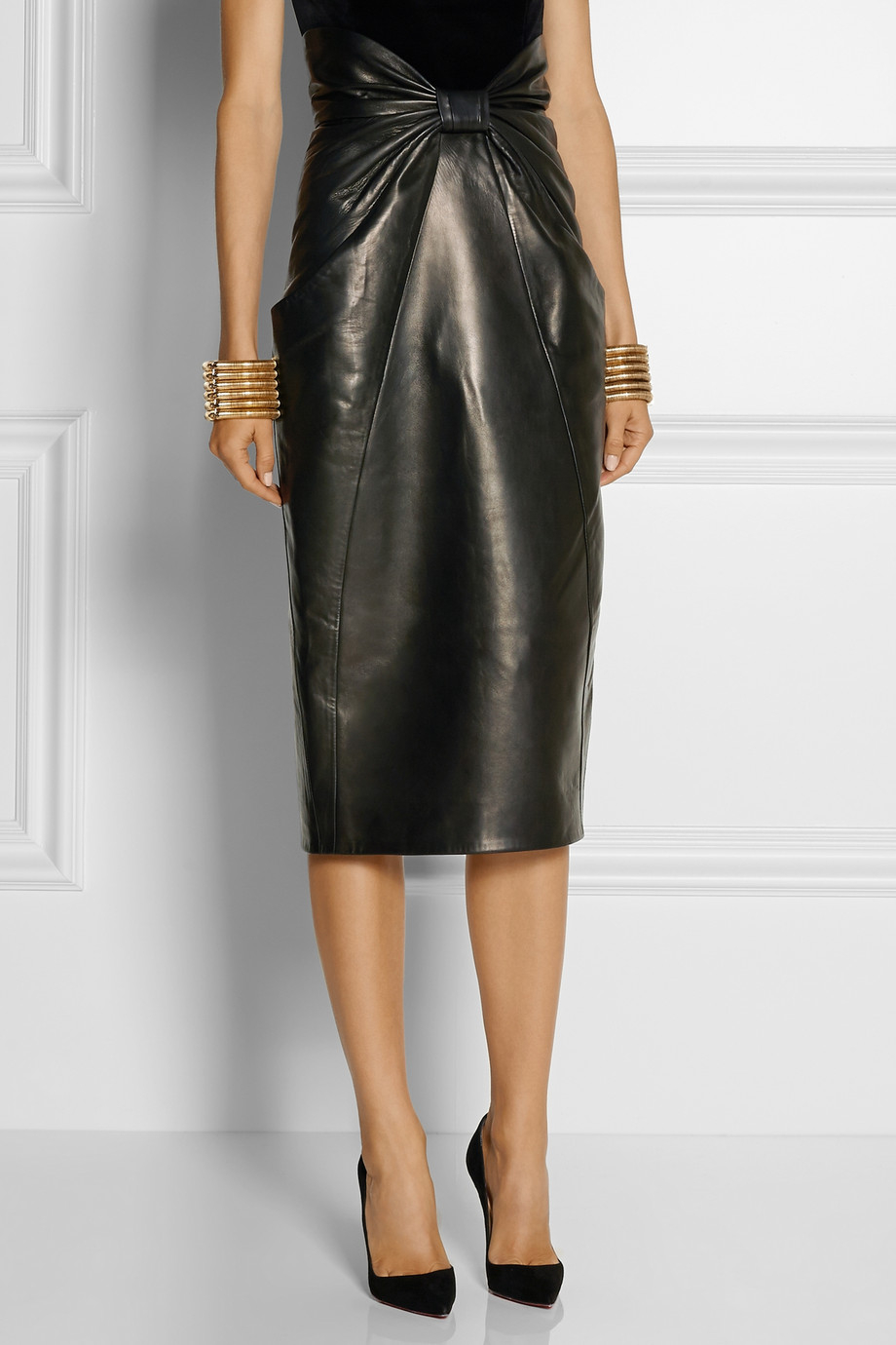 balmain ruched leather midi skirt in black lyst