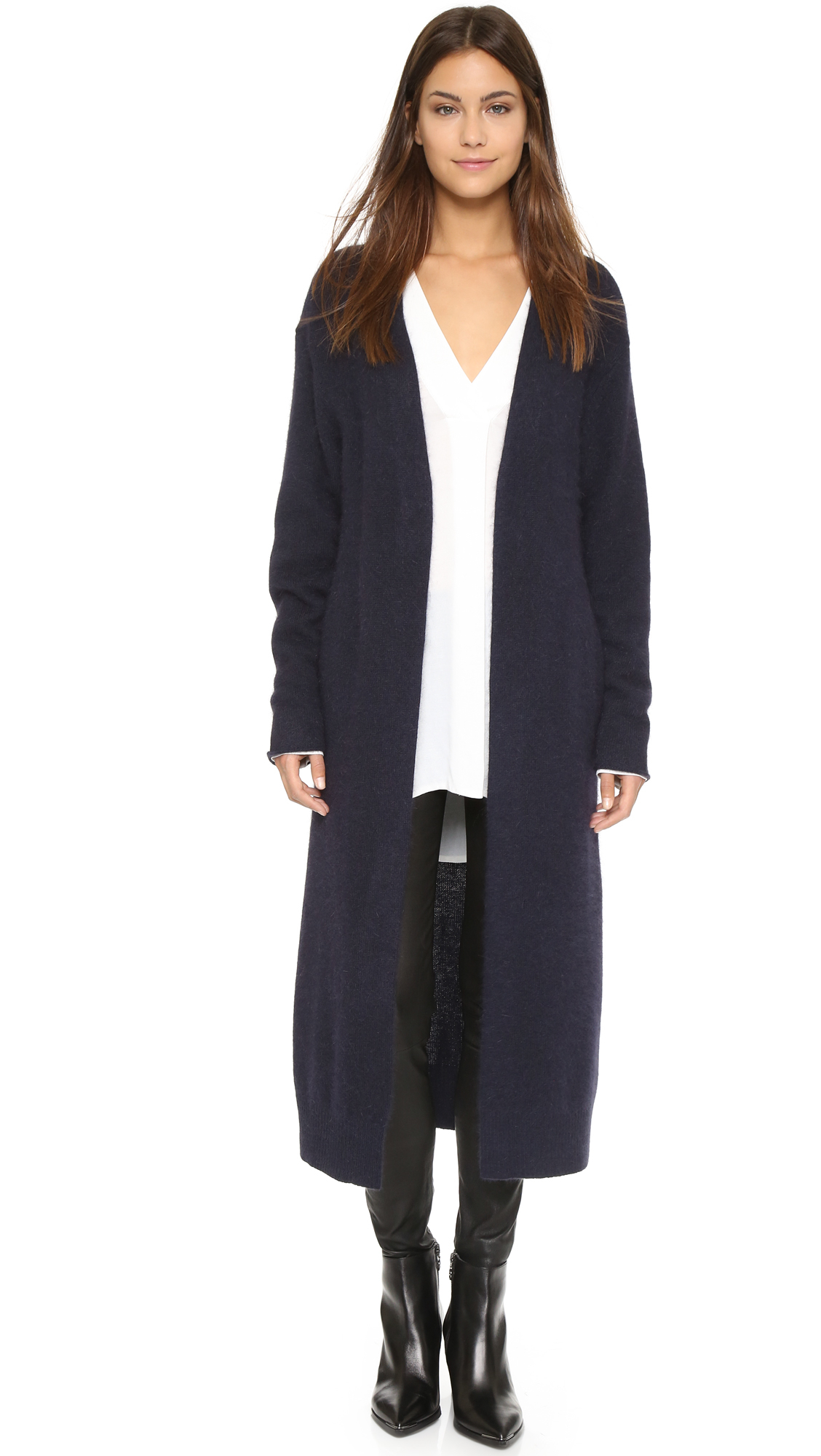 Lyst - Nicholas Angora Long Cardigan - Navy in Blue
