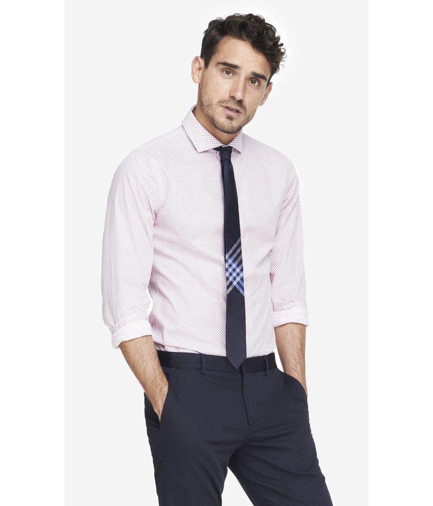Lyst express extra slim micro print dress shirt in pink for Extra slim dress shirt