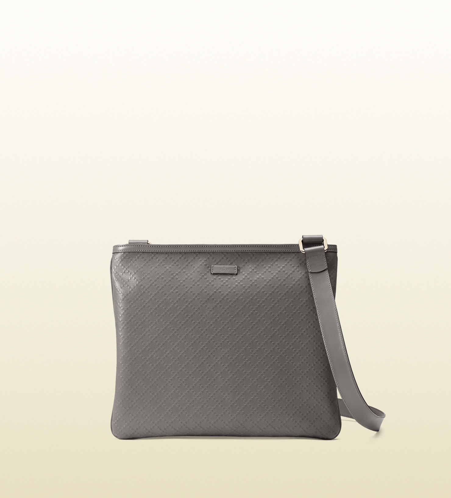 767a6238847d Lyst - Gucci Bright Diamante Leather Messenger Bag in Gray for Men